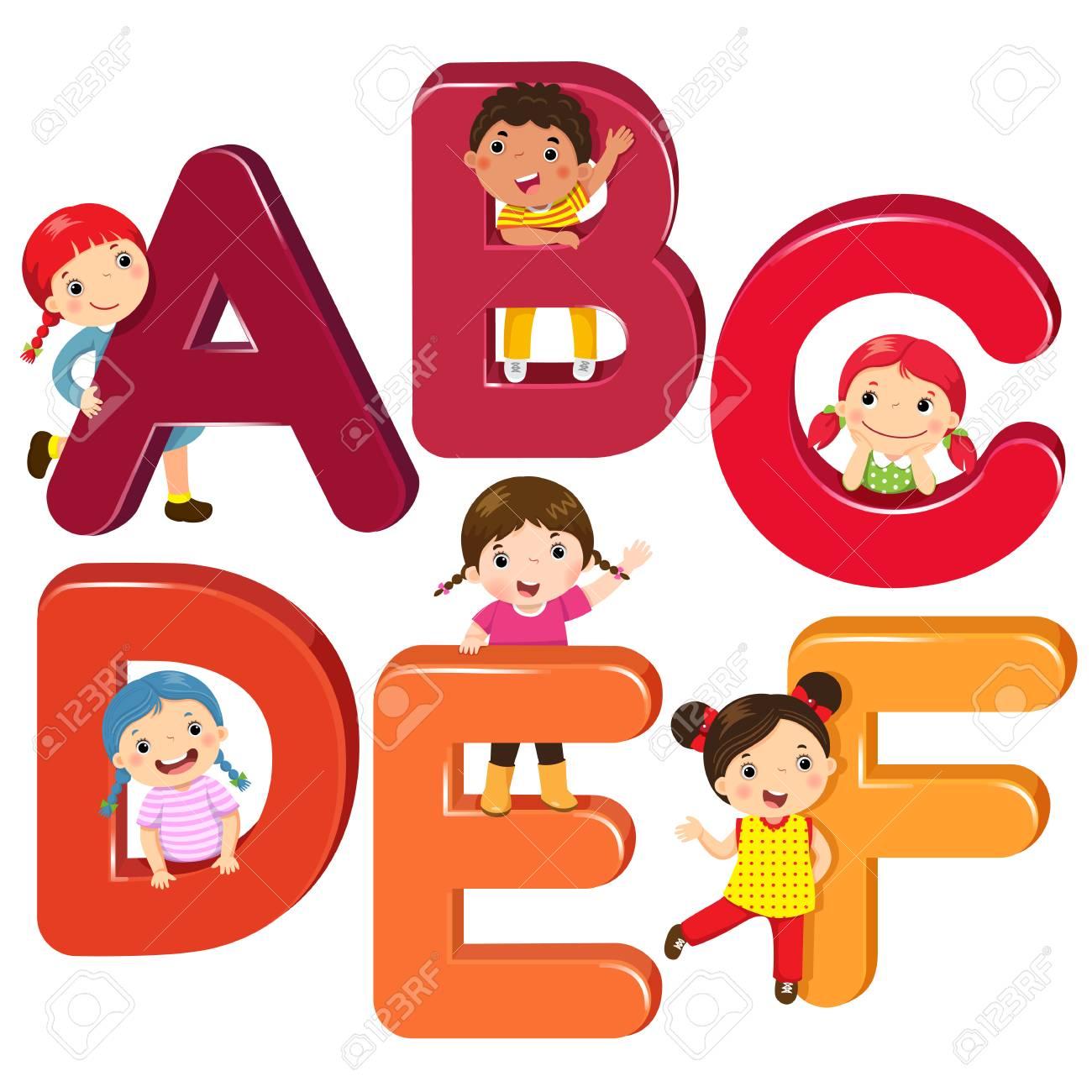 Niños De Dibujos Animados Con Letras Abcdef Ilustraciones