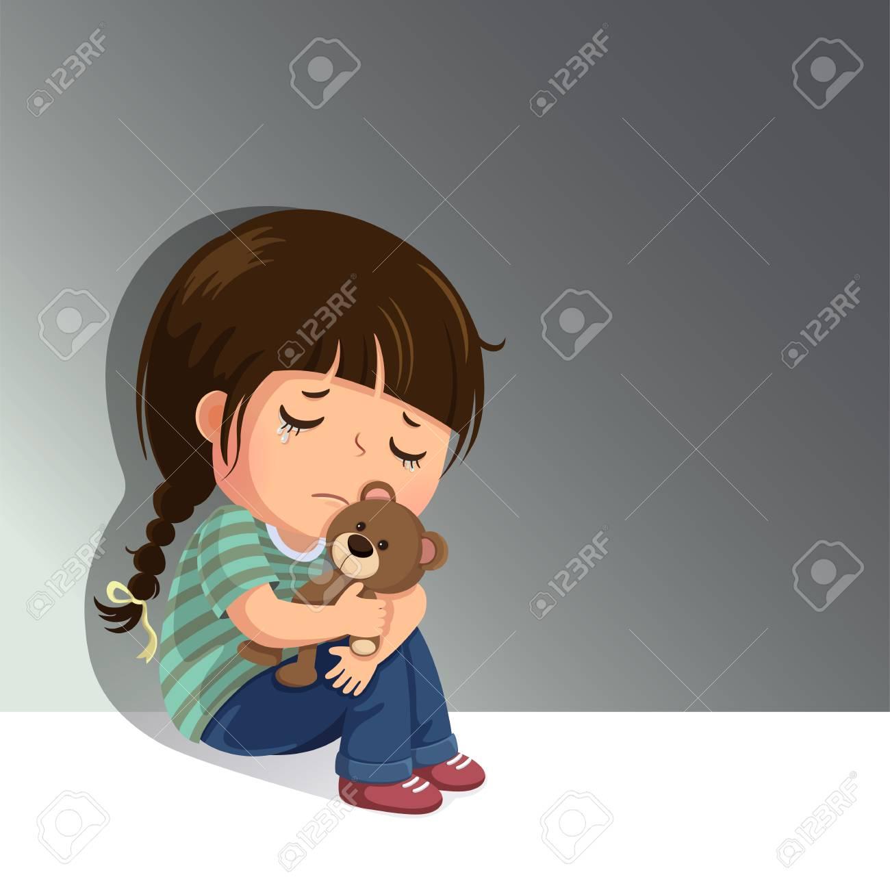 Alone Cartoon Girl sad little girl sitting alone with her teddy bear