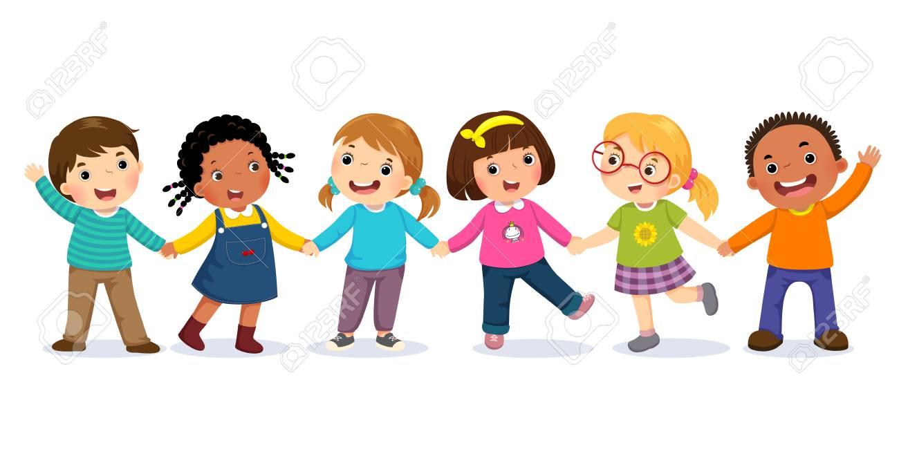 Groupe D Enfants Heureux Tenant Par La Main Concept D Amitie Clip Art Libres De Droits Vecteurs Et Illustration Image 94427882