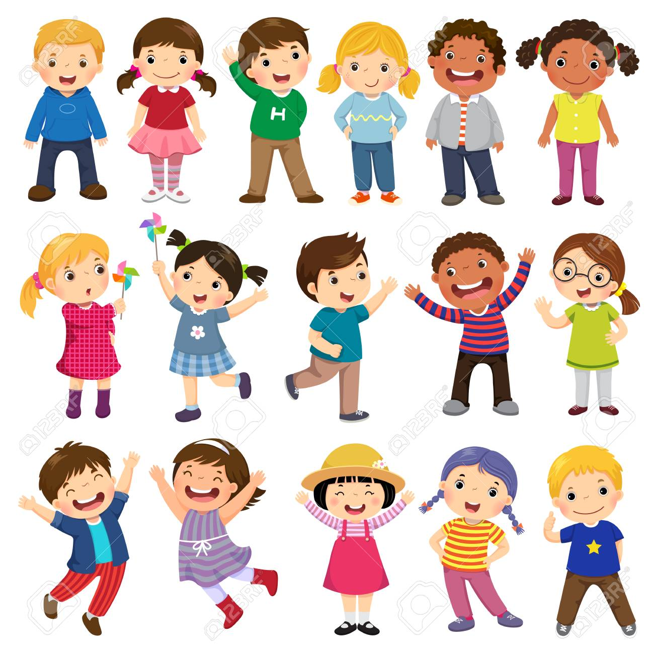 Happy kids cartoon collection. Multicultural children in different positions isolated on white background - 94427881
