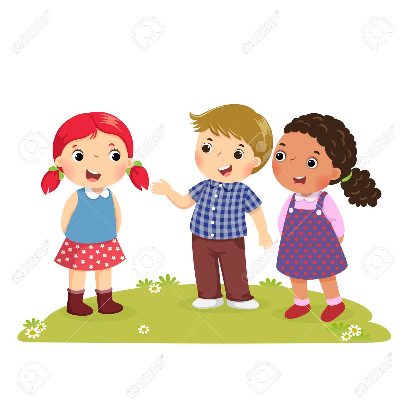 Illustration of a boy Introducing his friend to the girl - 94427879