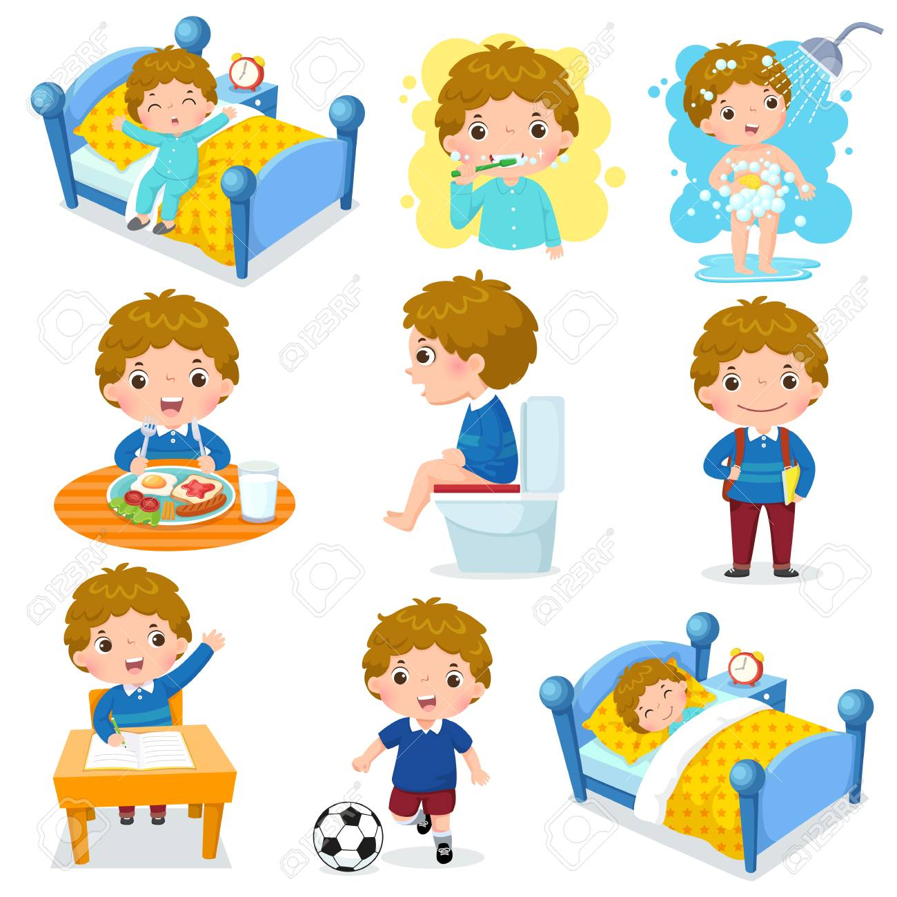 Illustration of daily routine activities for kids with cute boy - 96069152