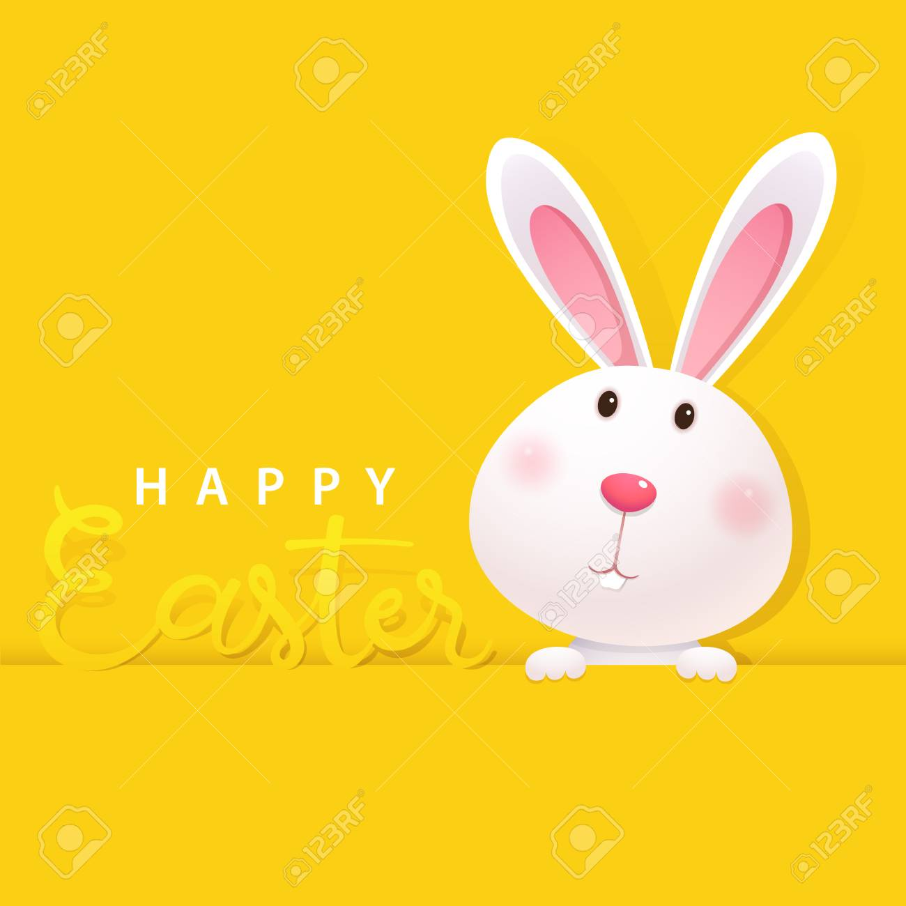 Greeting card with white Easter Bunny on yellow background. Happy Easter lettering card with cute rabbit - 96069154