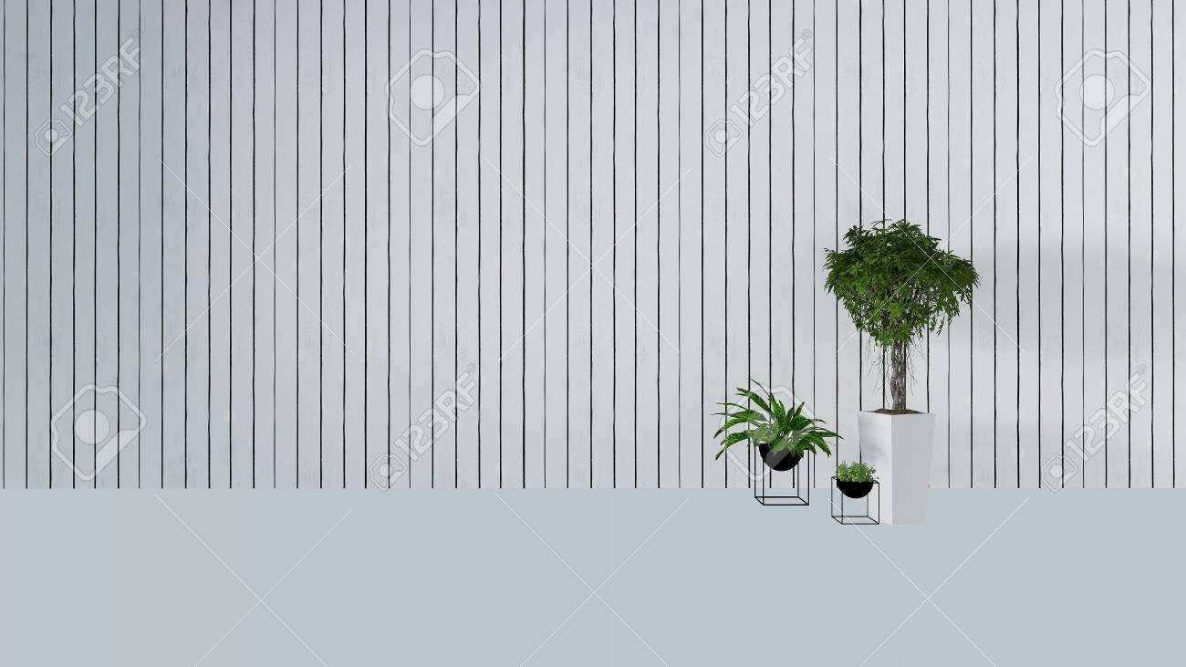Bois Decoration Murale Avec Plante Verte En Blanc Wal Backgroundl