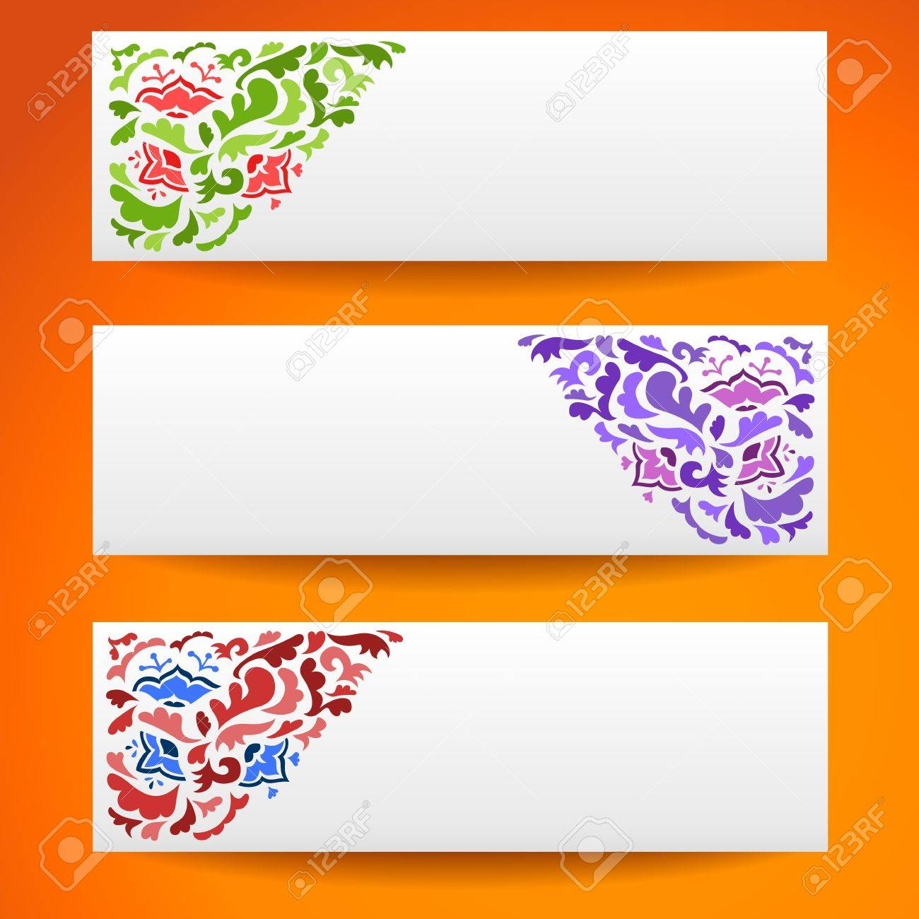 Abstract Flower Ornamental Horizontal Banners Illustration For ...