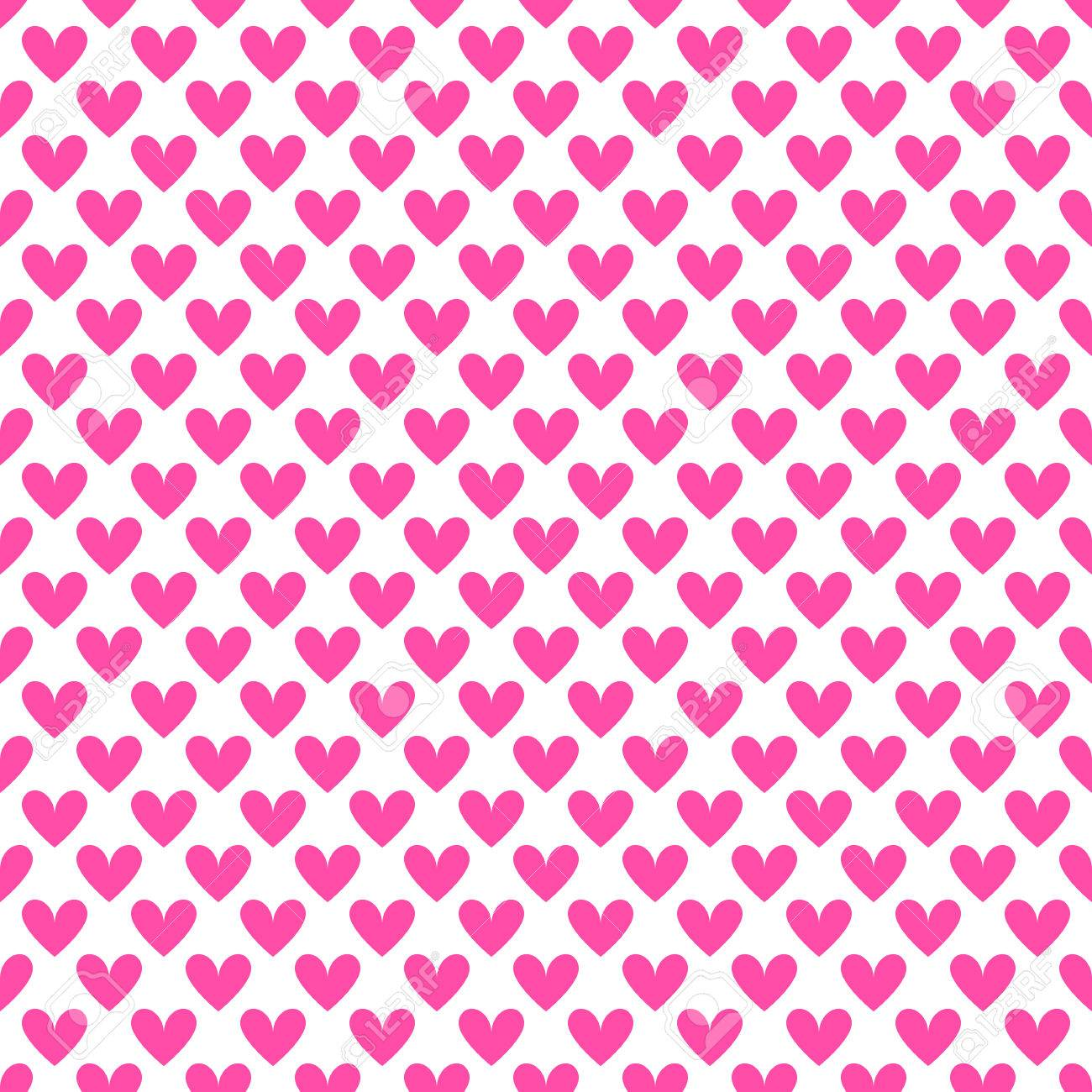 Heart Shape Vector Seamless Pattern (tiling). Pink And White ...