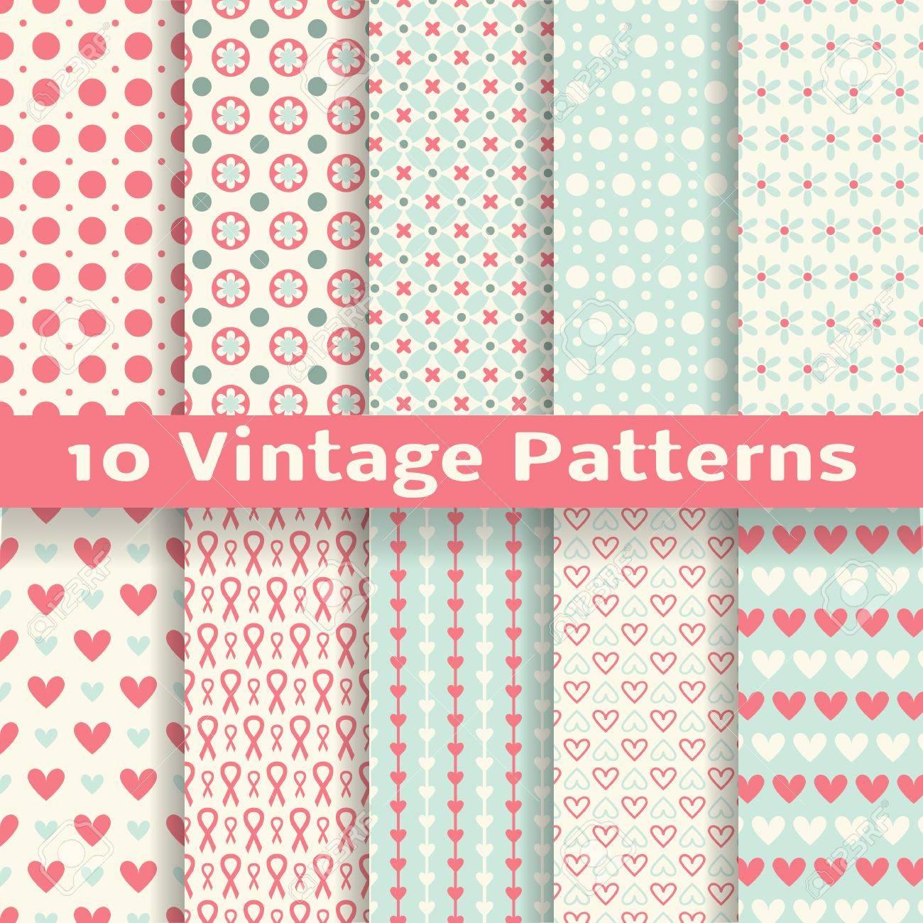 10 Vintage Mode Vektor Nahtlose Muster Fliesen Retro Rosa Weissen