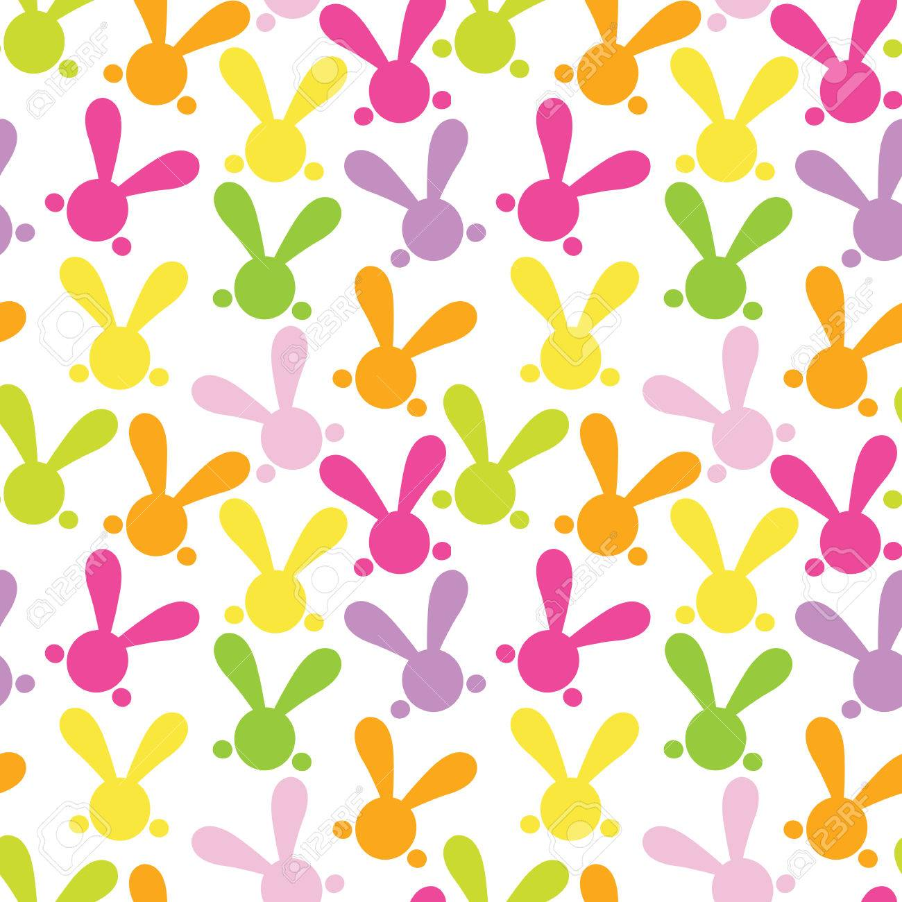 Colorful Seamless Paterns With Easter Bunny Vector Illustration