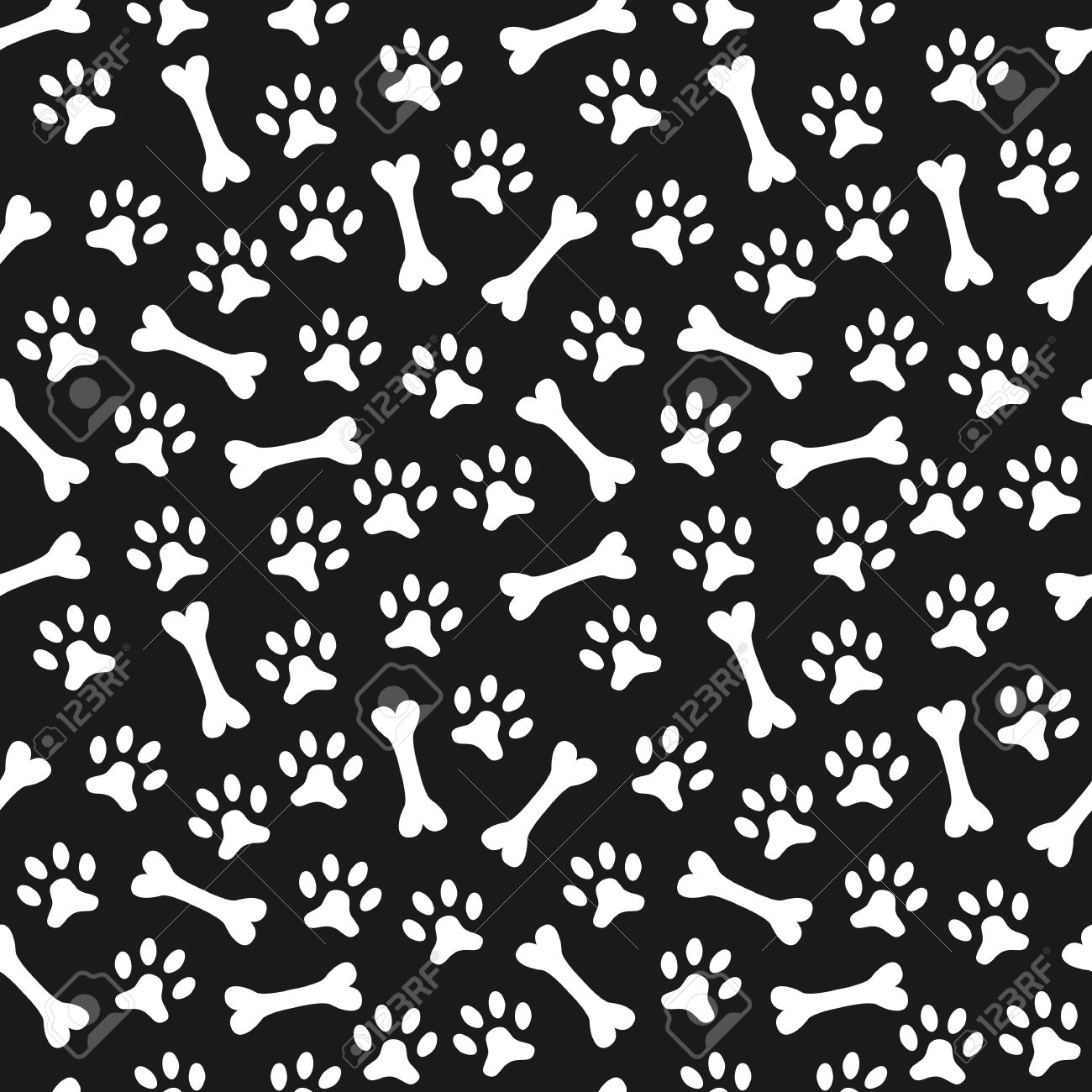 Animal seamless vector pattern Dog Bone Pattern Background