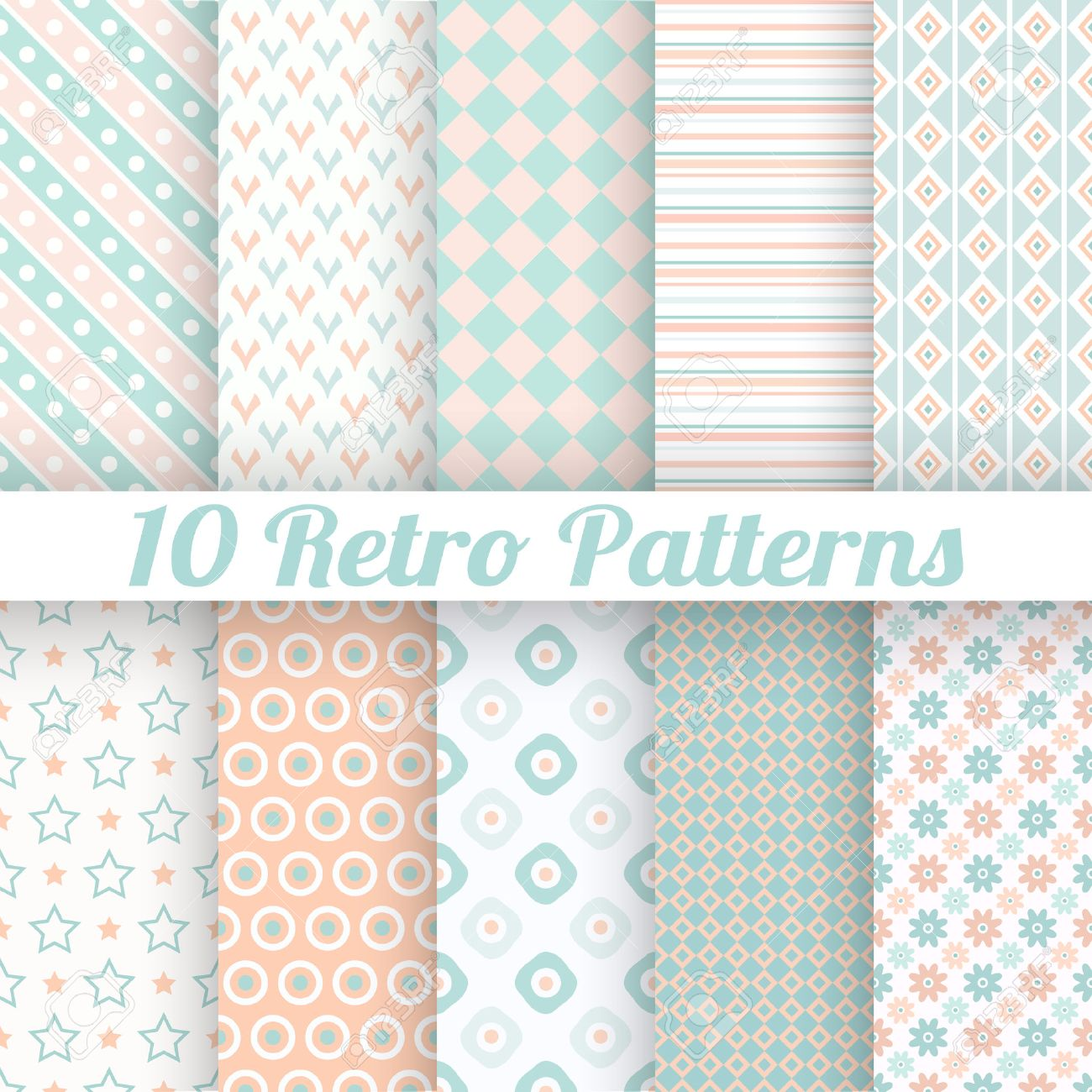 10 Pastel retro different vector seamless patterns (tiling). Endless texture can be used for wallpaper, web page background, surface textures. Set of geometric ornaments. Orange, blue and white colors - 28458780