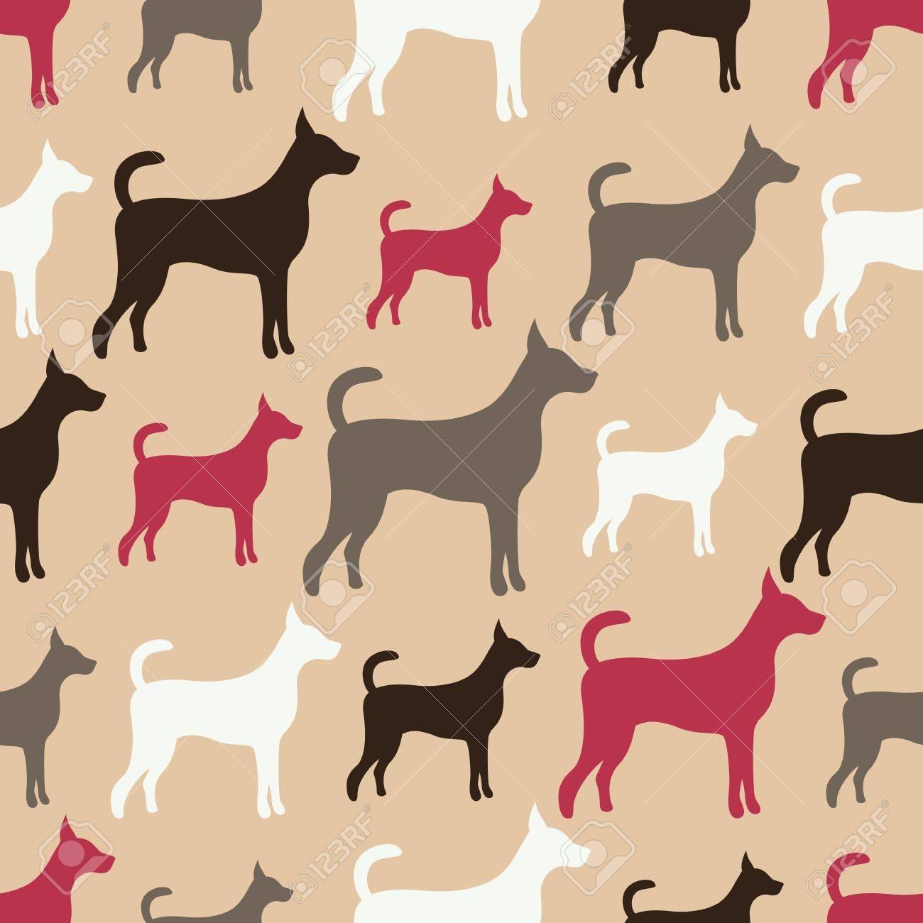 Modelo Animal Inconsútil Del Vector De Siluetas De Perros Textura