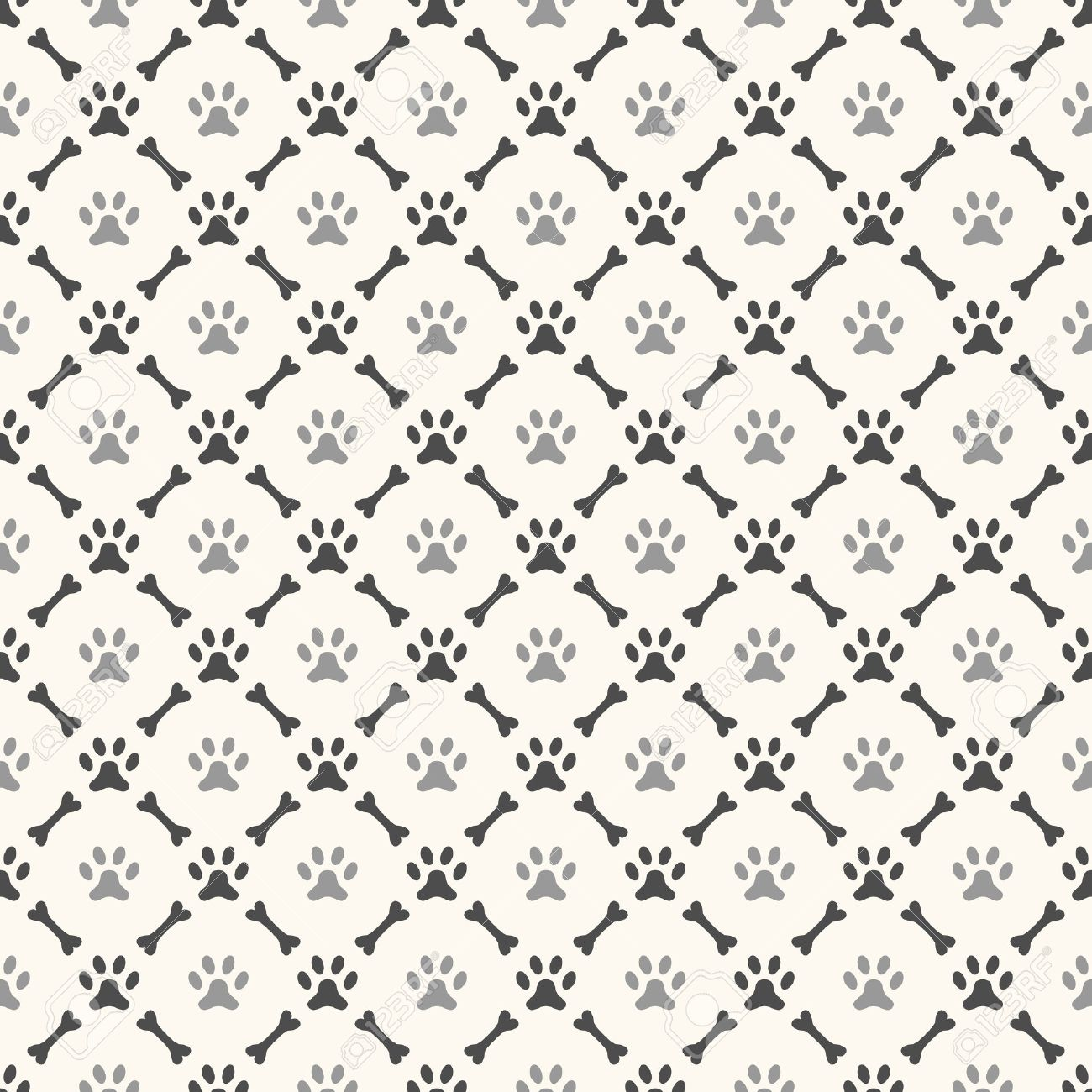 Seamless animal pattern of paw Dog Bone Pattern Background