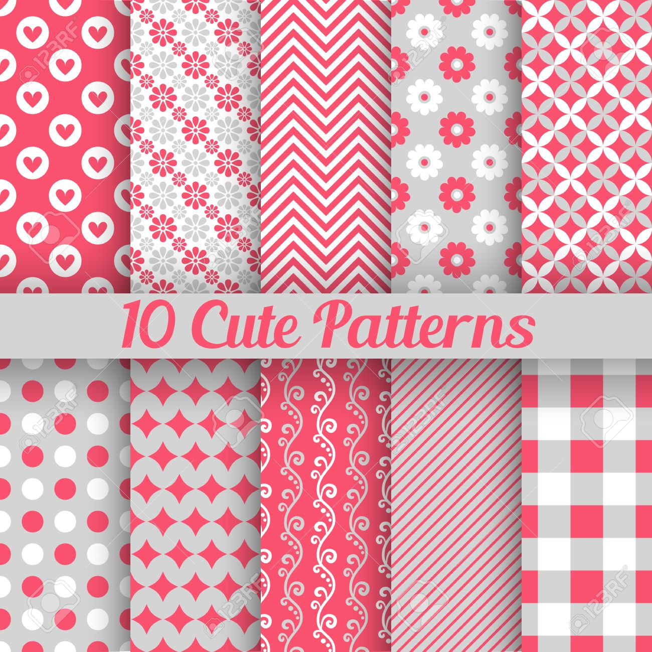 10 Cute Different Seamless Patterns Vector Illustration For Beauty Design Pink White And