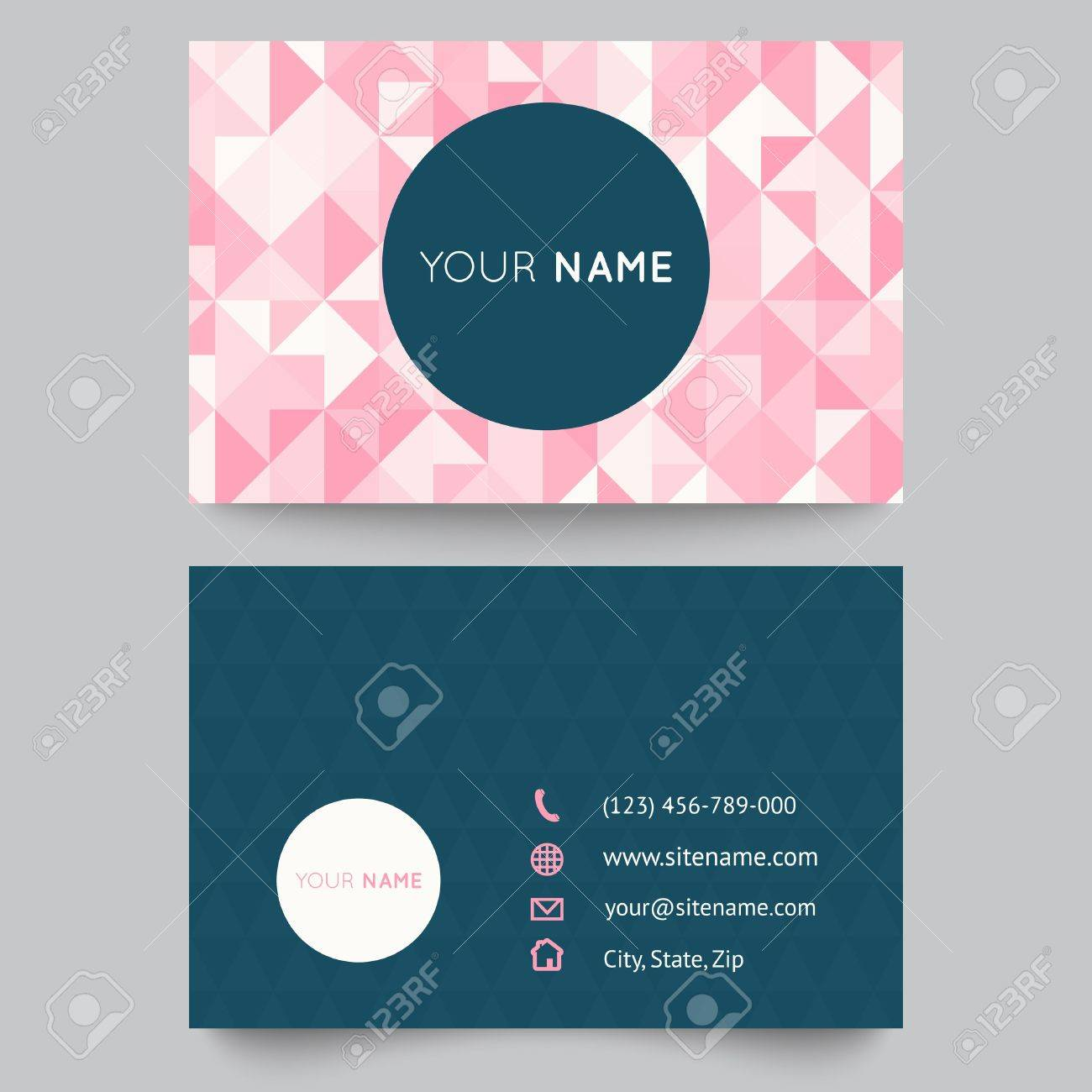 Business Card Template, Abstract Crystal Pink Triangle Background ...