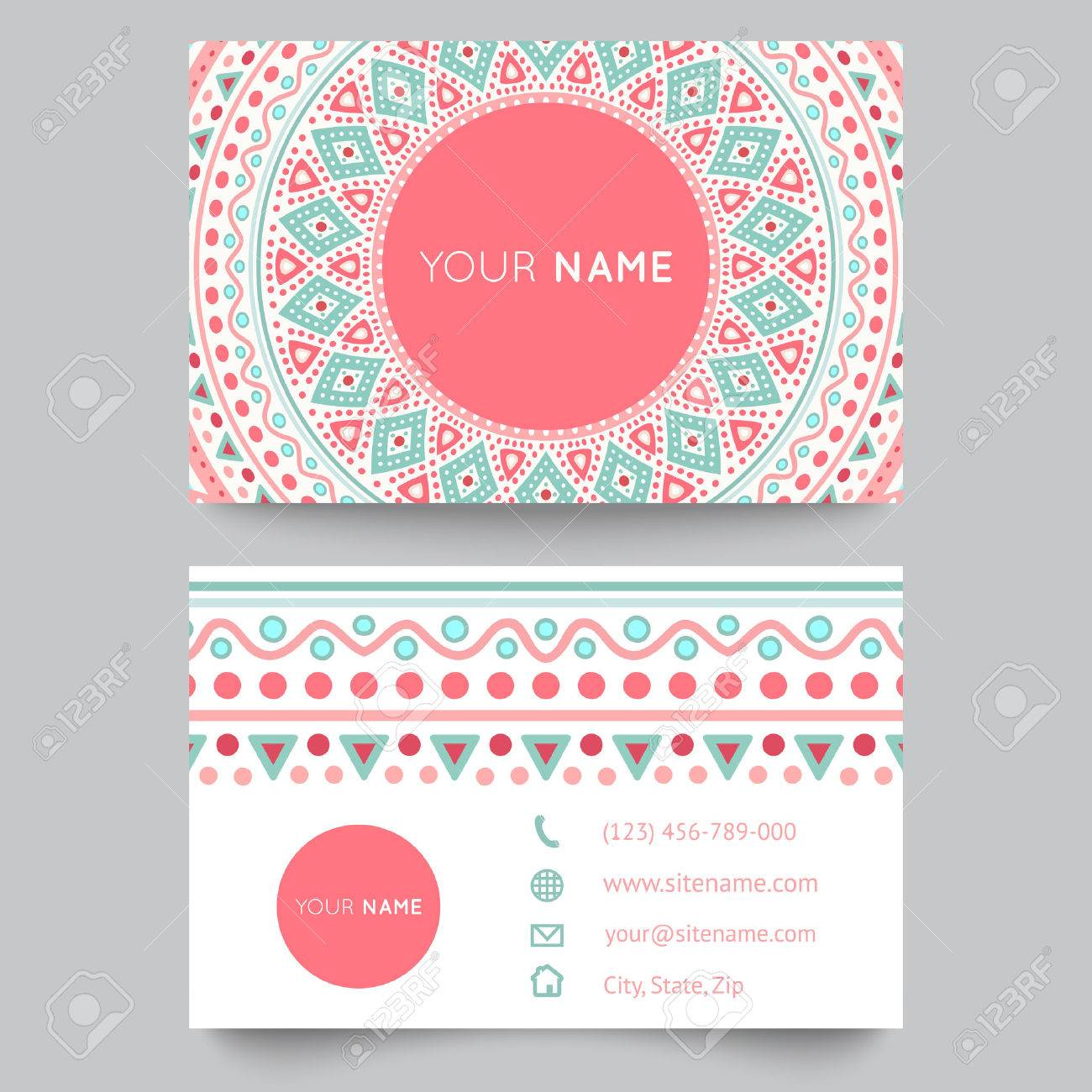 Business Card Template, Blue, White And Pink Beauty Fashion Pattern ...