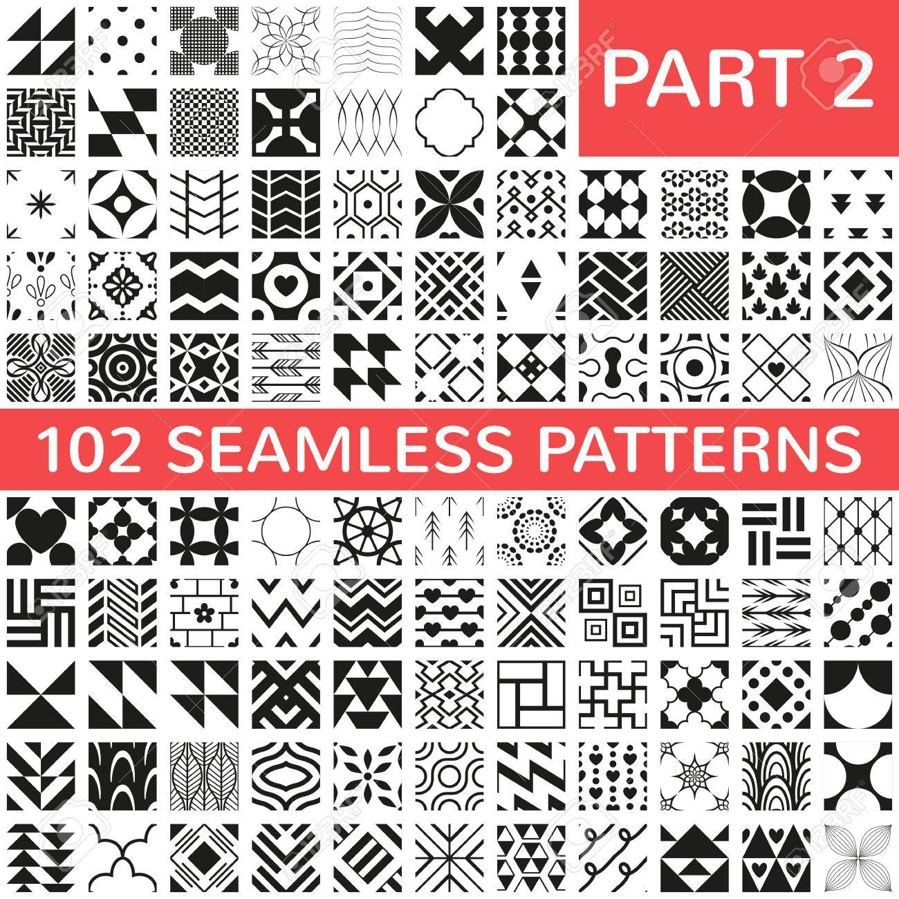 102 Universal different vector seamless patterns. Endless texture can be used for wallpaper, pattern fills, web page background,surface textures. Set of monochrome geometric ornaments. Stock Vector - 36133864