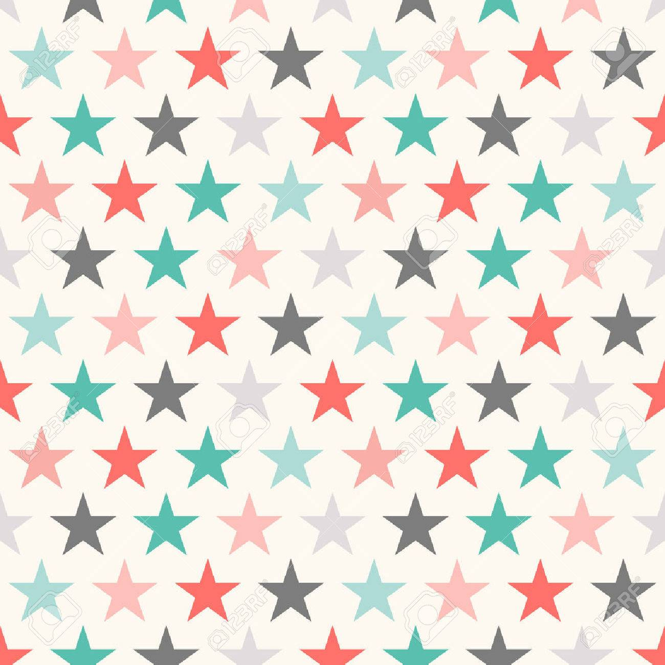 Retro Colorful Star Seamless Pattern Vector Illustration For Holiday Kid Background Bright Wallpaper