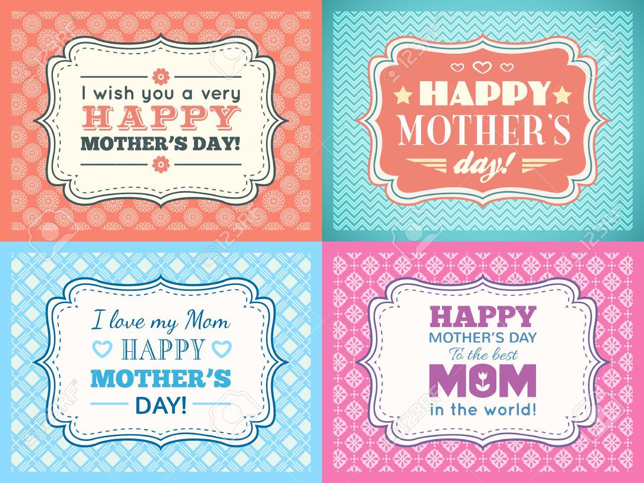 Establece Madres Feliz Tarjeta Del Día. Tipografía Carta Tipo De ...