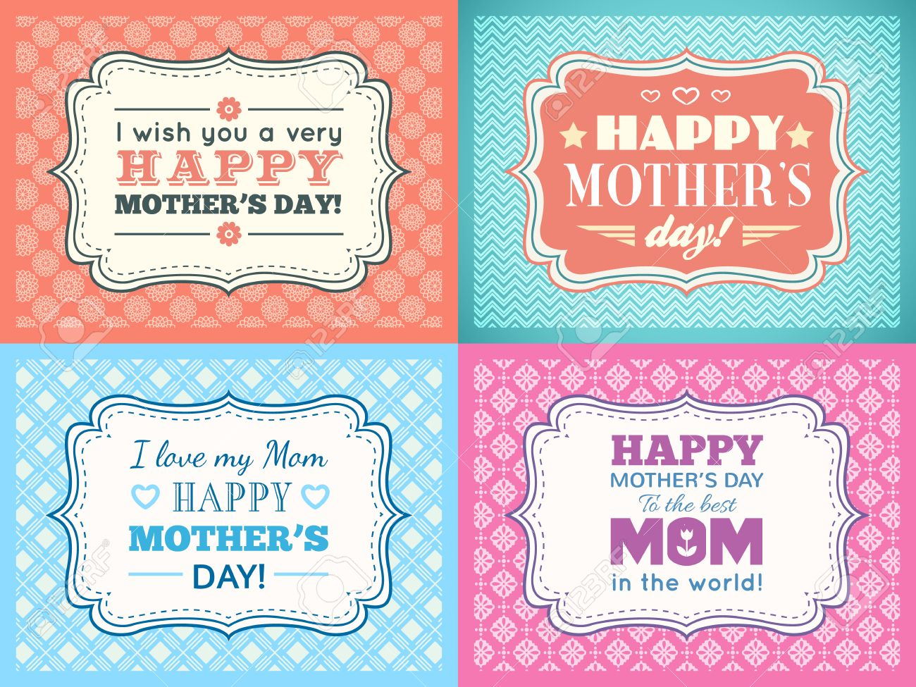happy mothers day card set typography letter font type editable for happy birthday party