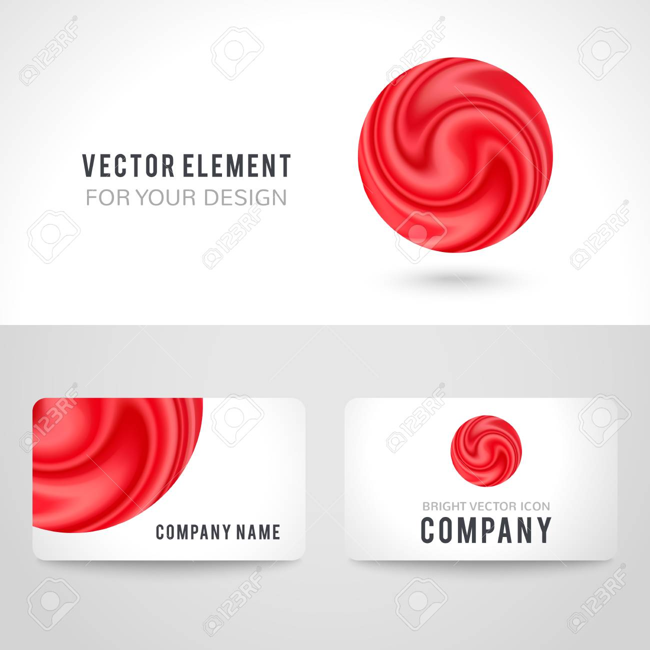 Business card template set abstract red circle on white background business card template set abstract red circle on white background vector illustration for modern friedricerecipe Choice Image