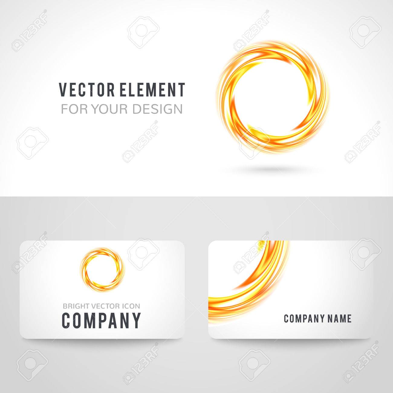 Business Card Template Set Abstract Orange Circle On White Background Vector Illustration For Modern