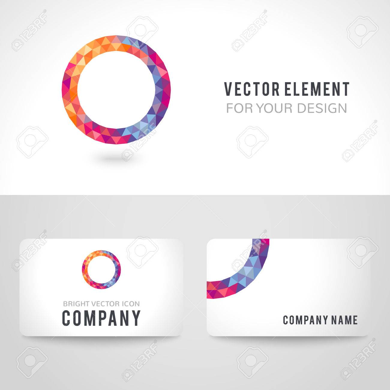 Business card template set bright picture round frame in modern business card template set bright picture round frame in modern polygonal crystal style on white wajeb