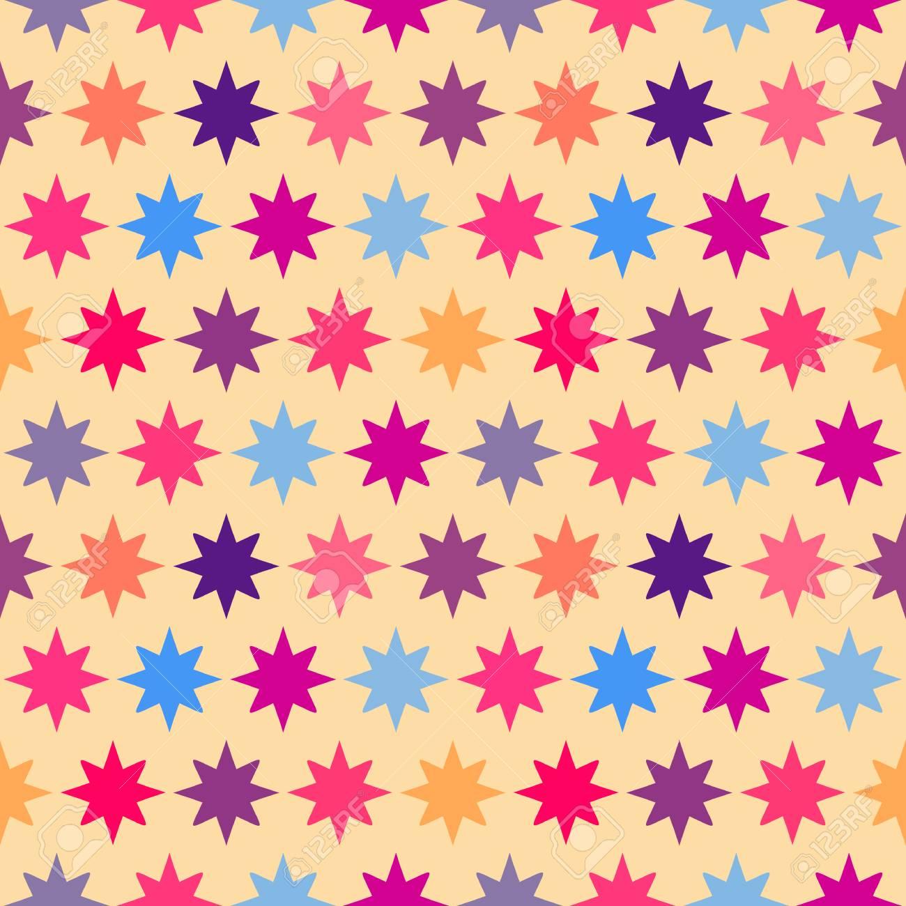 レトロなカラフルな星のシームレスなパターン 休日の子供の背景の