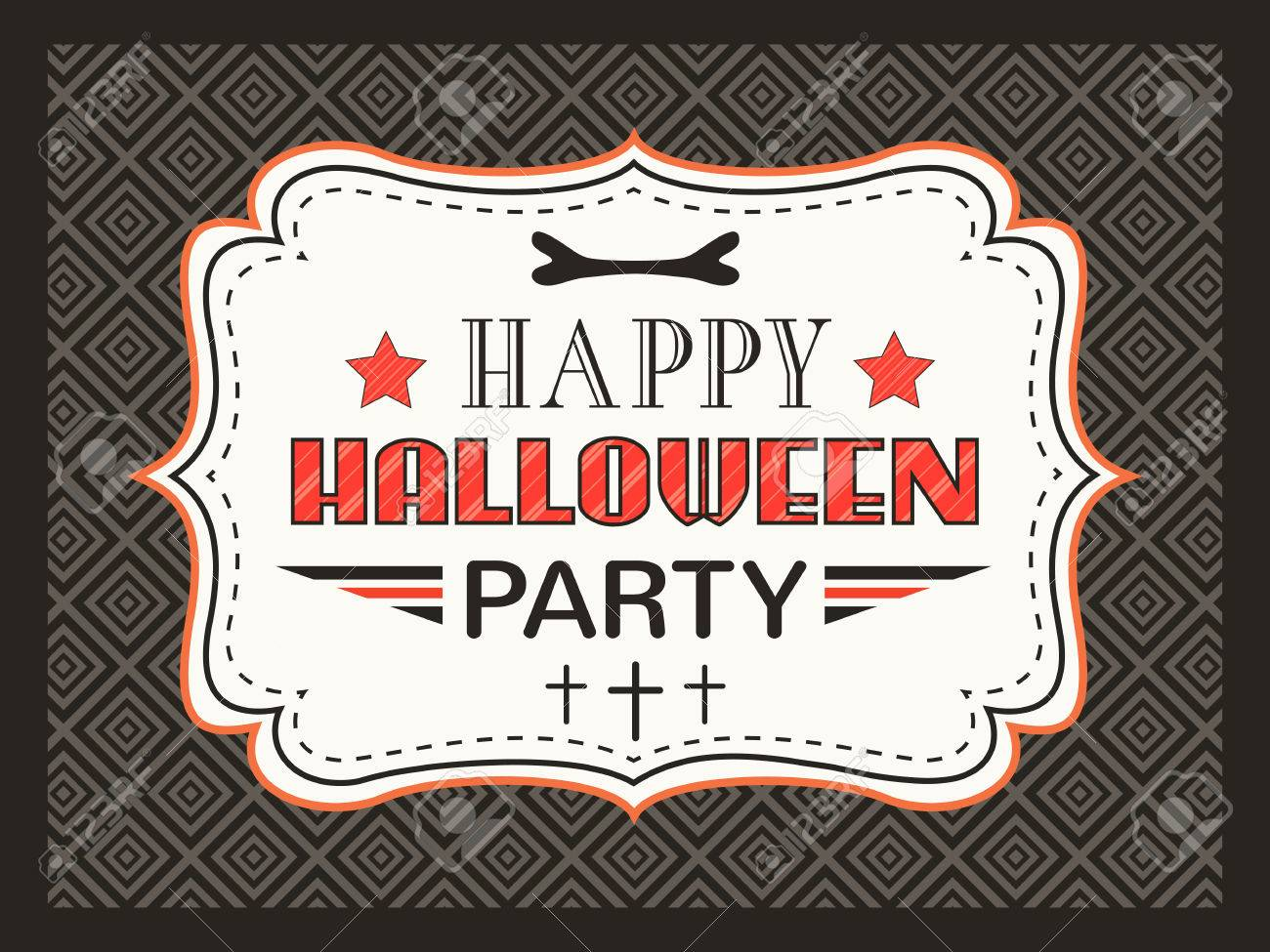 Happy halloween party card typography letters font type party happy halloween party card typography letters font type party invitation vintage frame on stopboris Gallery