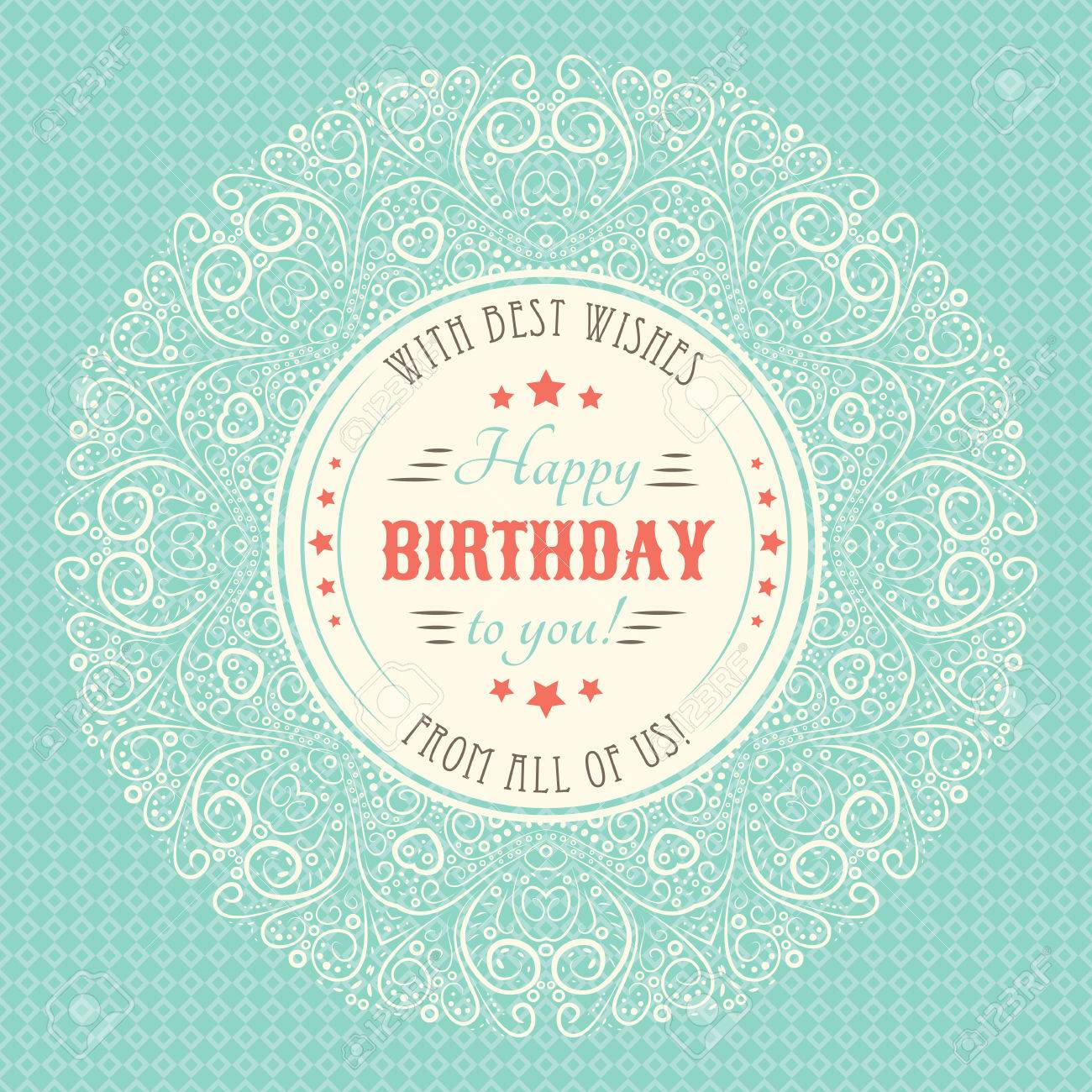 Vintage Happy Birthday Card Typography Letters Font Type Illustration Stock Photo Picture And Royalty Free Image Image 44243312