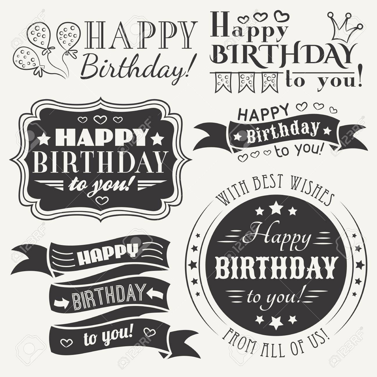 Black And White Colors Happy Birthday Greeting Card Collection In Holiday Design Retro Vintage Style Typography Letters Font
