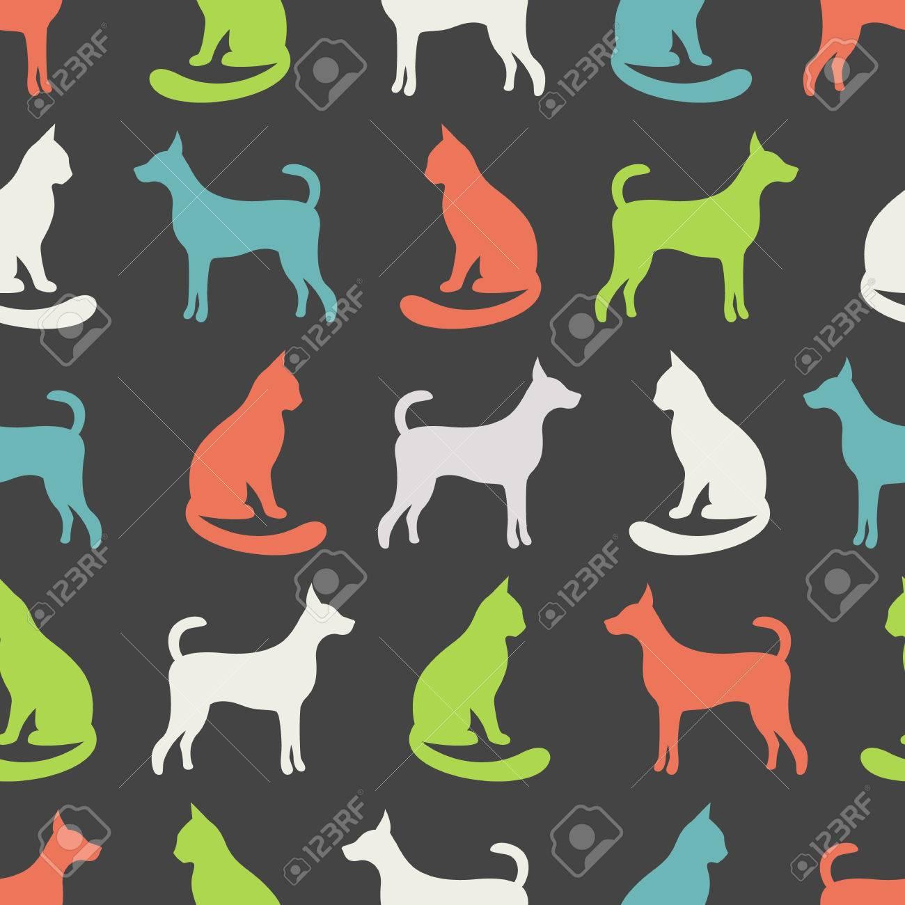 Modelo Animal Inconsútil Del Vector Del Gato Y Del Perro Siluetas ...