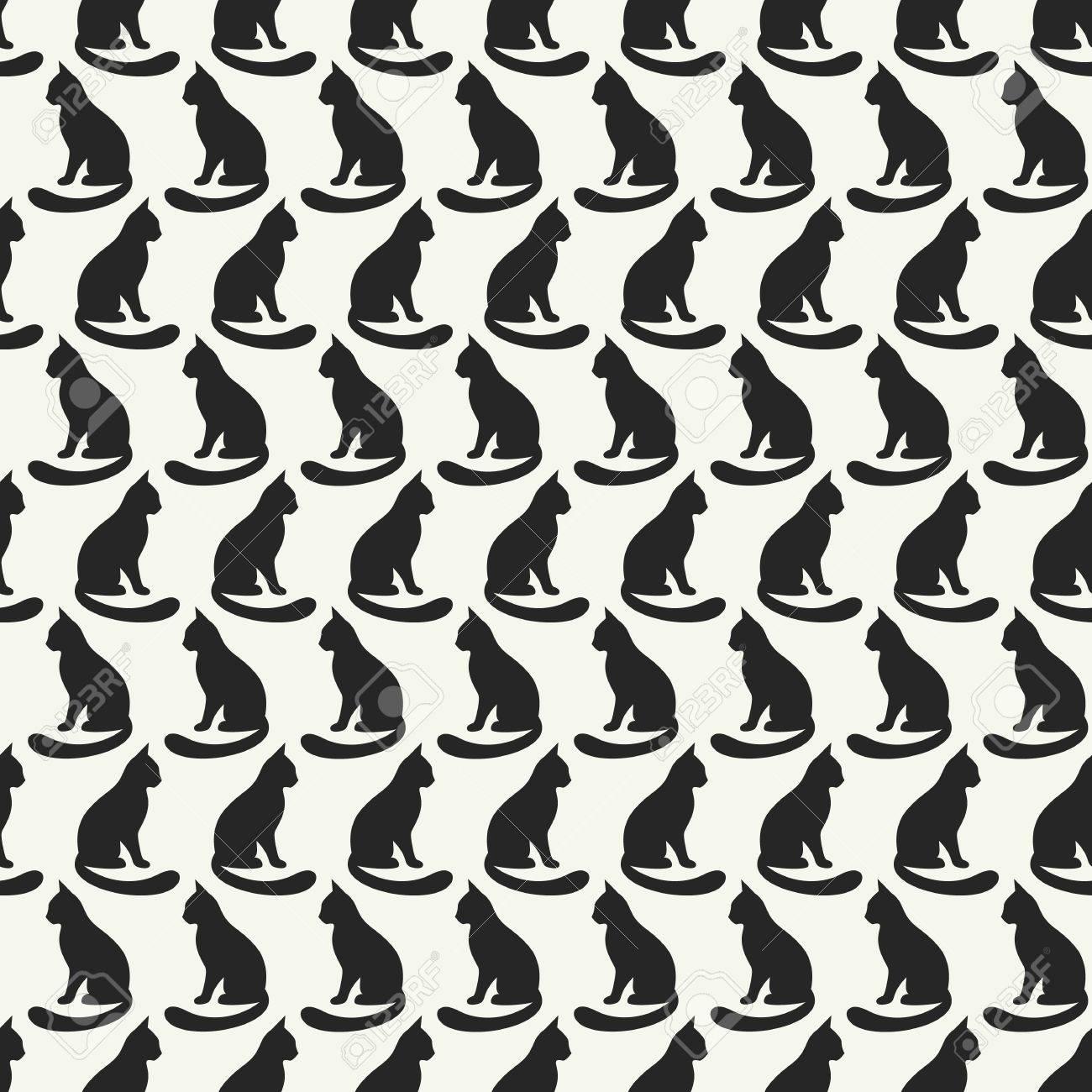 Vector Patrón Transparente De Animales De Las Siluetas Del Gato ...