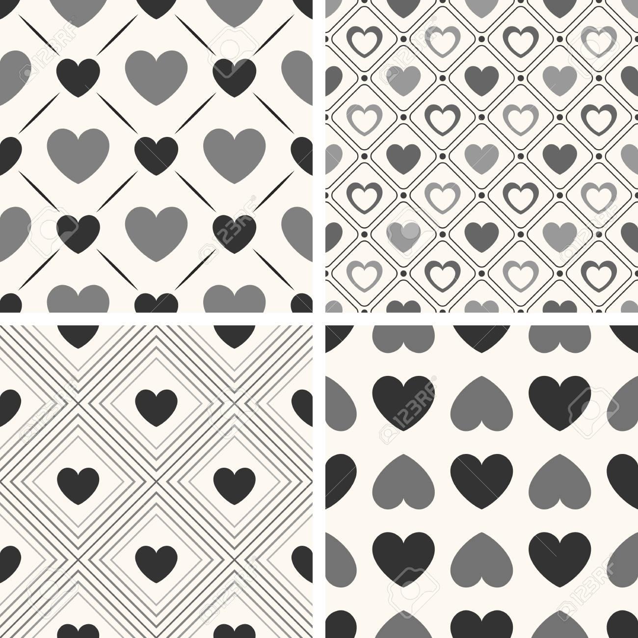 Patrones de costura forma de corazón. colores blanco y negro.