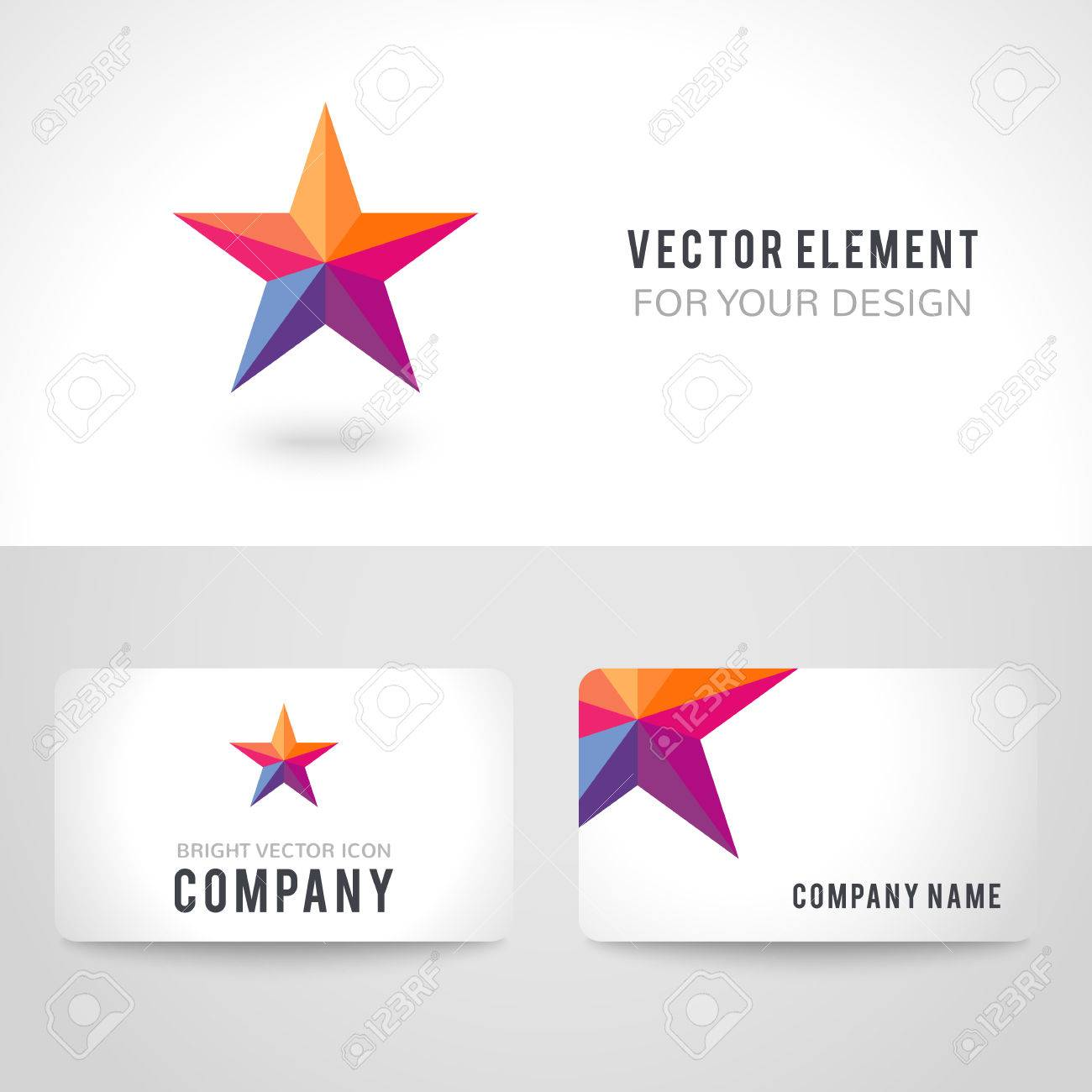 Business Card Template Set Bright Colorful Star Shape In Modern