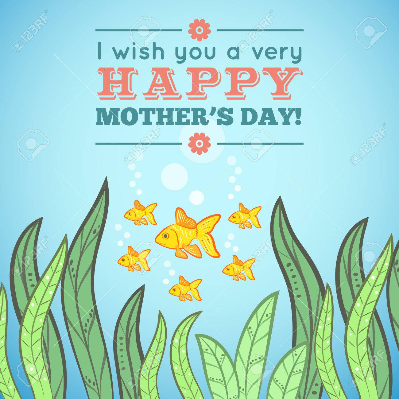 Greeting card design with fish for mother day illustration dor greeting card design with fish for mother day illustration dor funny holiday design blue m4hsunfo