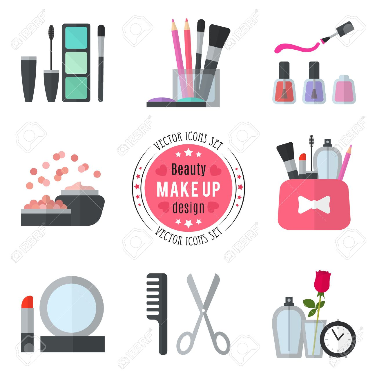 Make up flat icons. Vector illustration for cosmetic design. Beauty style isolated on white background. Make-up artist objects. Makeup accessories for pretty woman. Bright colors. - 50437677