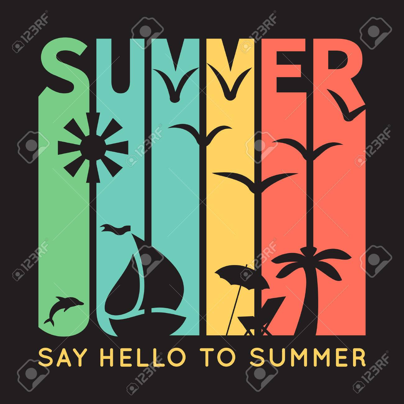 Summer typography with beach icons, t-shirt graphics on black background. illustration. Banner of simple bright symbols of holidays. Sun, boat, palm tree, bird. - 50437760
