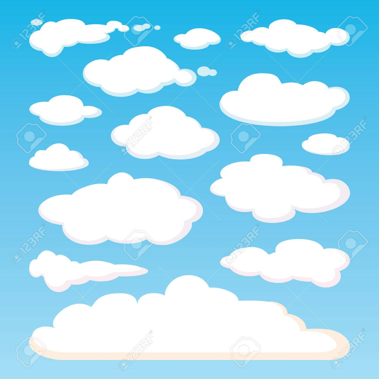 pattern of white clouds isolated on blue sky background set rh 123rf com vector skydiving gear vector skydiving rig