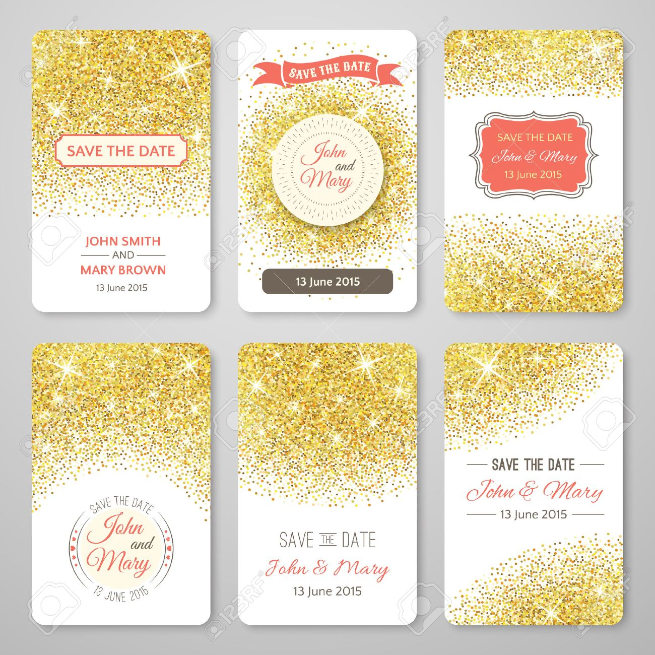 Set of perfect wedding templates with golden confetti theme. Ideal for Save The Date, baby shower, mothers day, valentines day, birthday cards, invitations. Vector illustration for gold design. - 50437918
