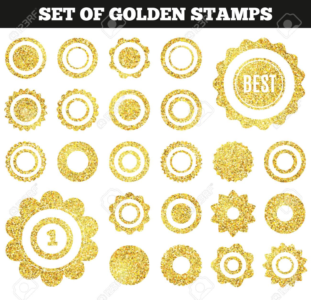 ee97586a39ac Set of golden grunge stamp. Round shapes. Vector illustration for premium  design. Yellow