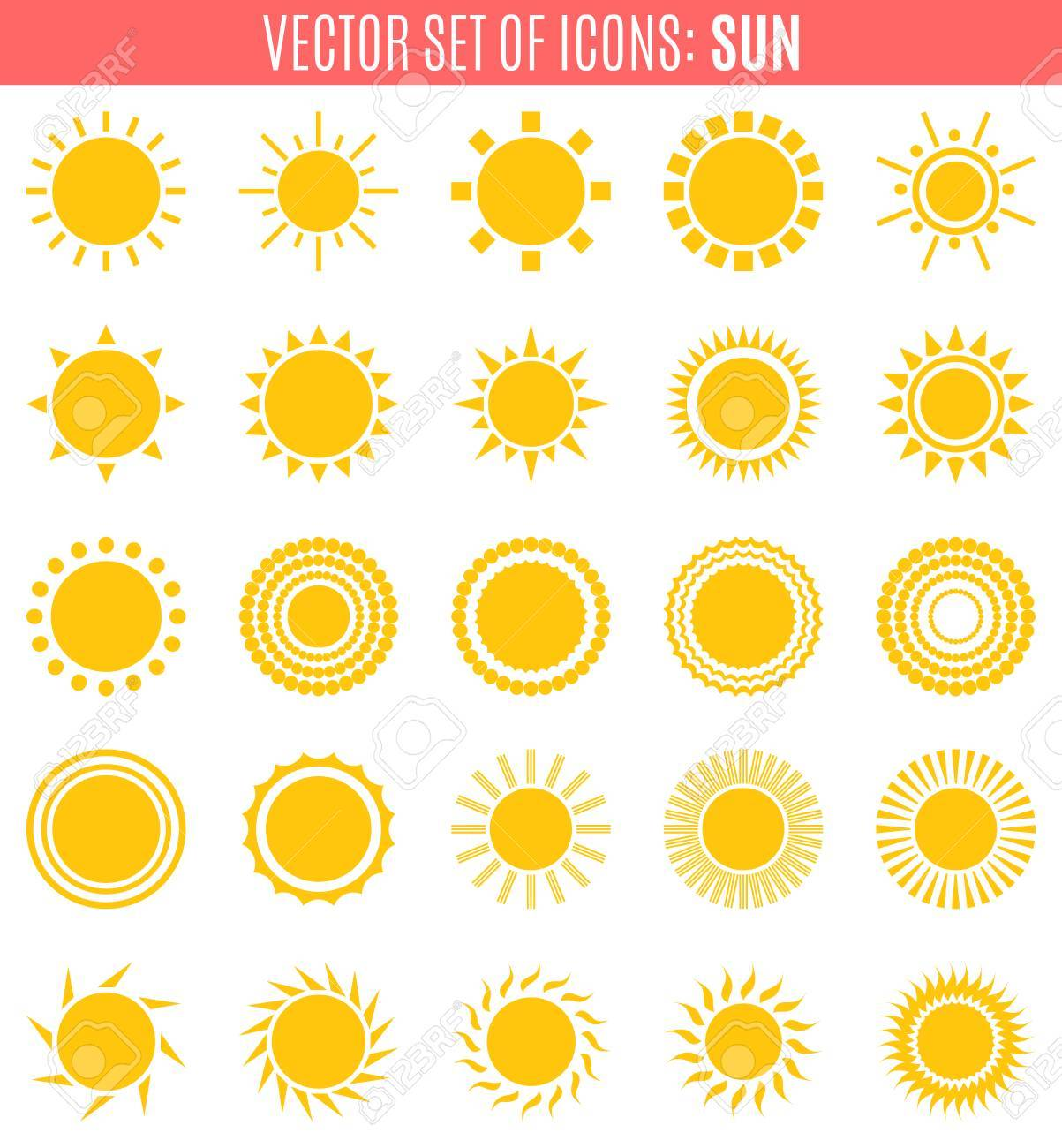 Set Of Sun Icons Isolated On White Background Creative Yellow