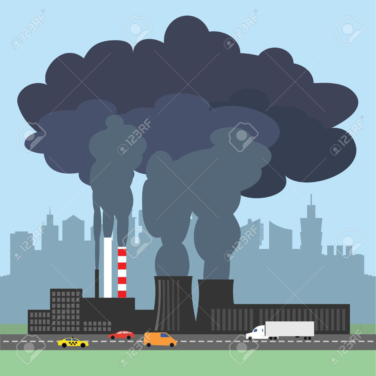 A conceptual vector illustration showing the polluted smoke from a factory chimney over a city. Causes of air pollution, acid rains and green house effect. Ecological disaster. Industrial problems. - 50591005