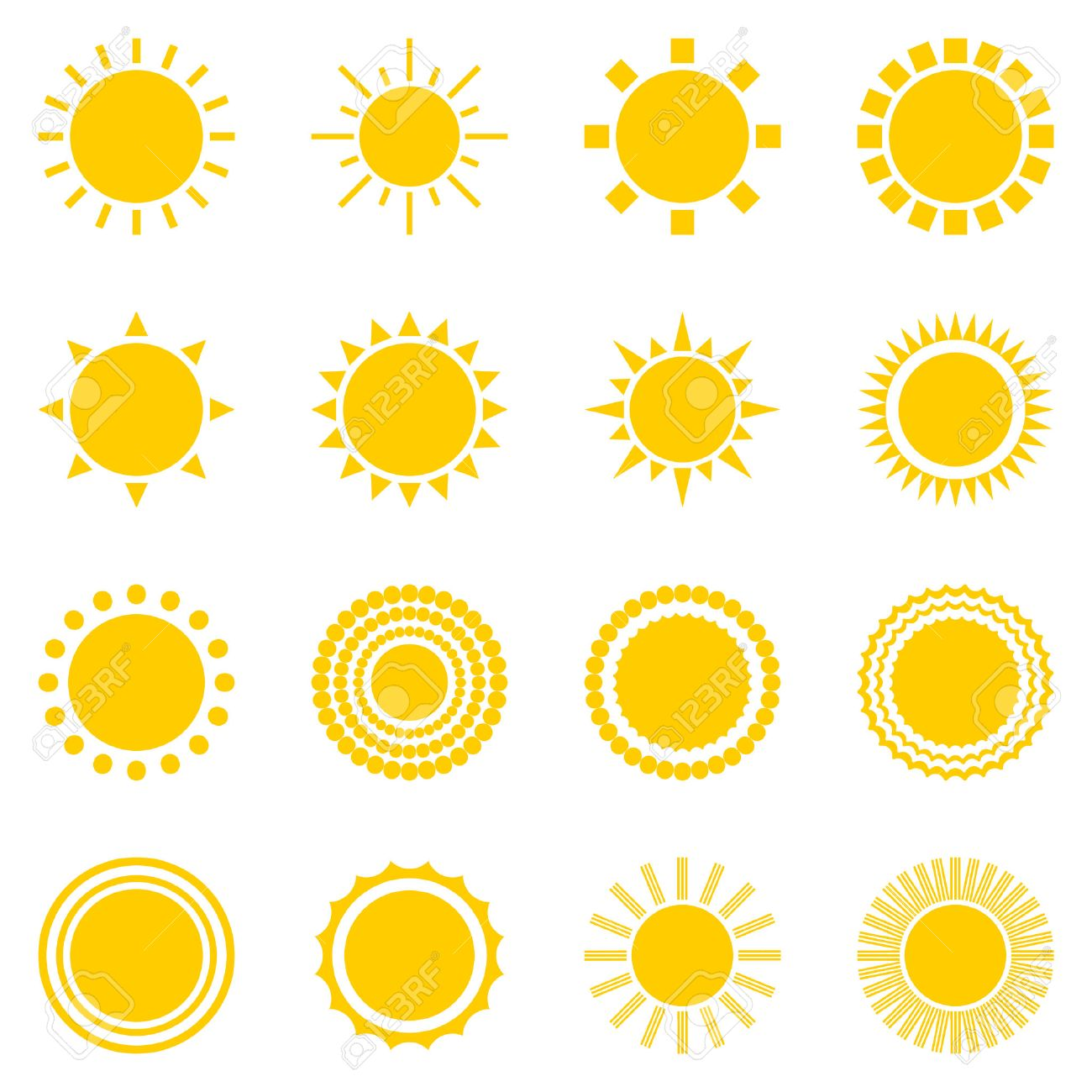 set of sun icons isolated on white background. Creative yellow sunlight symbols. Elements for weather forecast design. Solar system. Sunrise And sunset. Editable items. Flat design graphic. Vector - 50591008