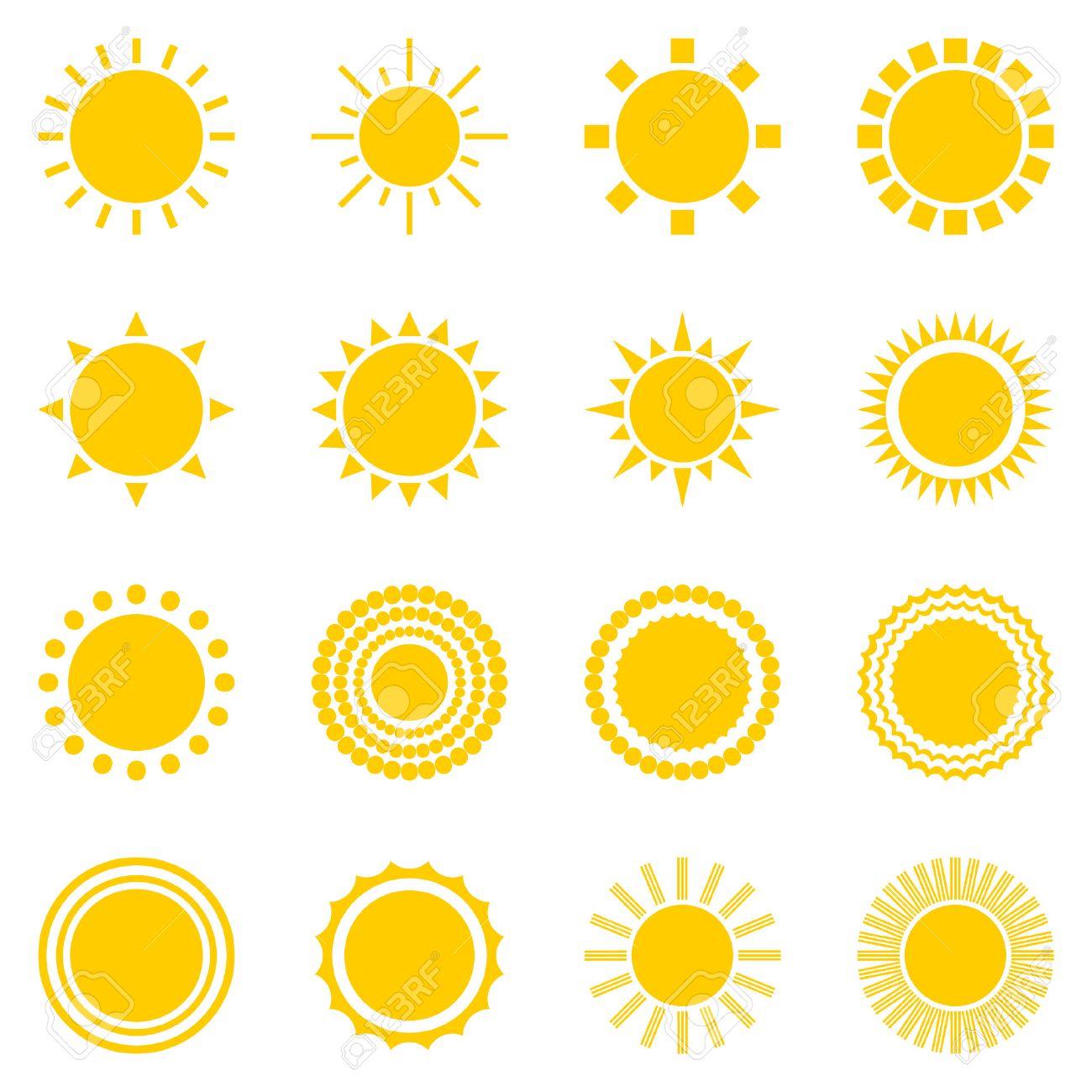 Set of sun icons isolated on white background creative yellow set of sun icons isolated on white background creative yellow sunlight symbols elements for buycottarizona