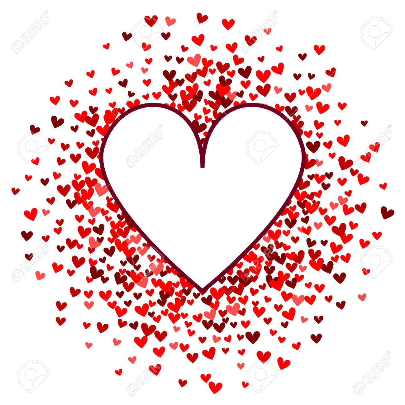 Romantic red heart background. Vector illustration for holiday design. Many flying hearts on white background. For wedding card, valentine's day greetings, lovely frame. - 51432060
