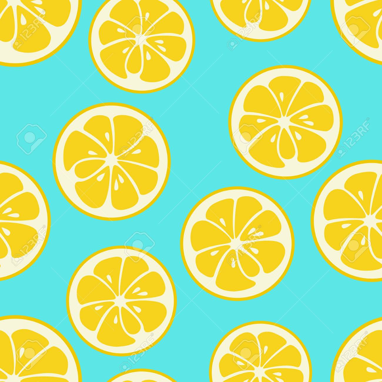 Cute Seamless Pattern With Yellow Lemon Slices Tasty Summer