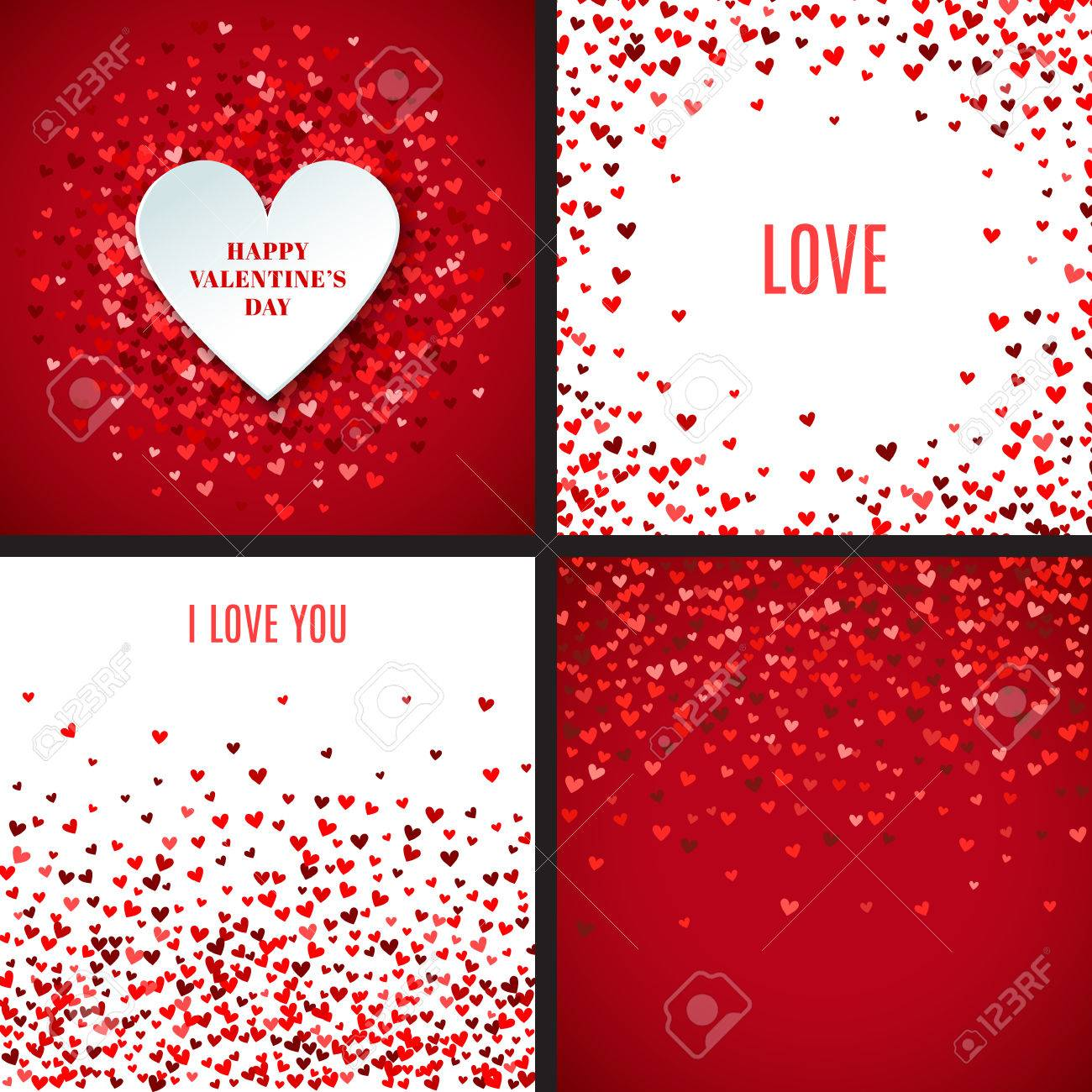 Set of romantic red heart backgrounds. Vector illustration for holiday design. Many flying hearts on white and red background. For wedding card, valentine's day greetings, lovely frame. - 51334398