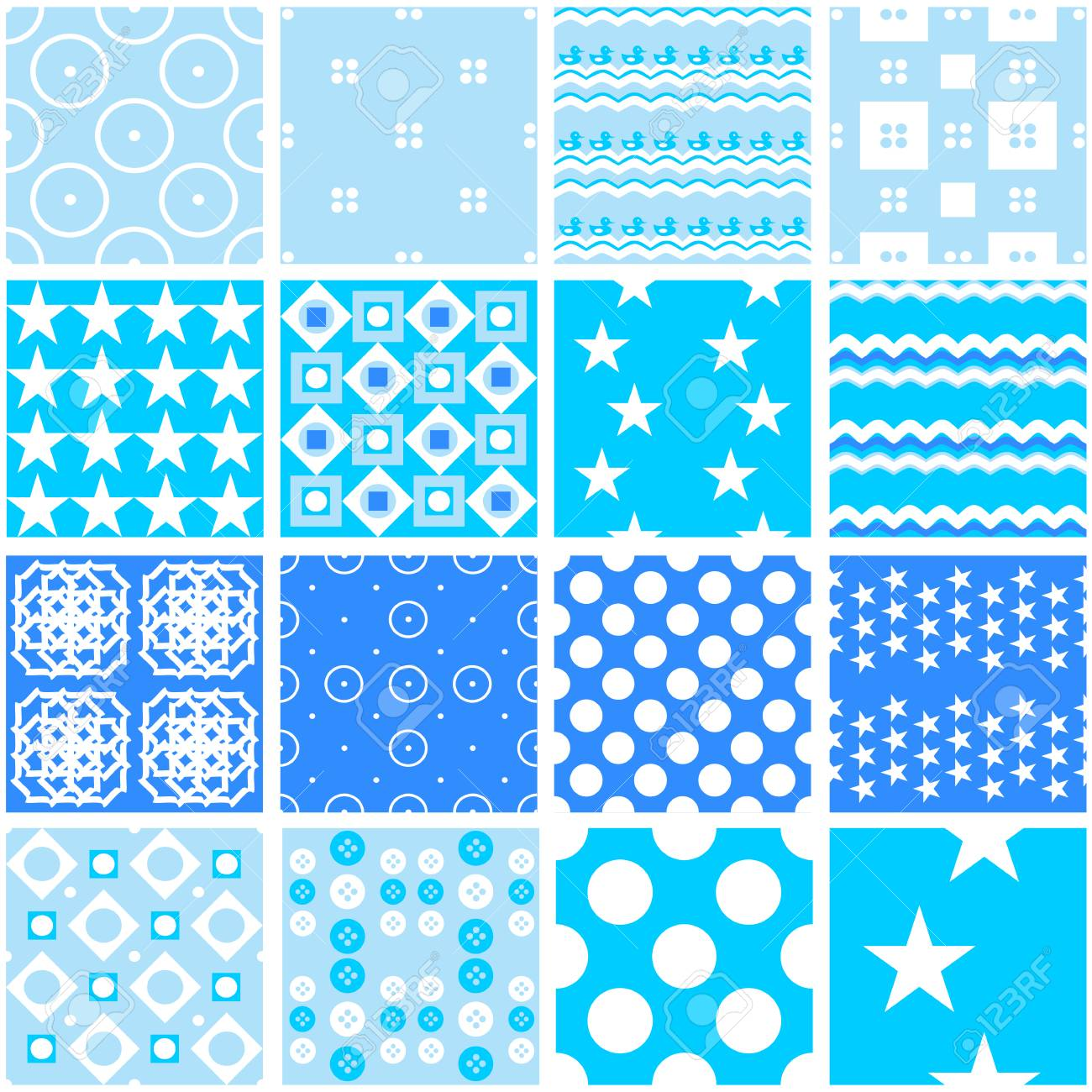 16 Cute Blue Vector Seamless Patterns Endless Texture For Wallpaper Fill Web Page