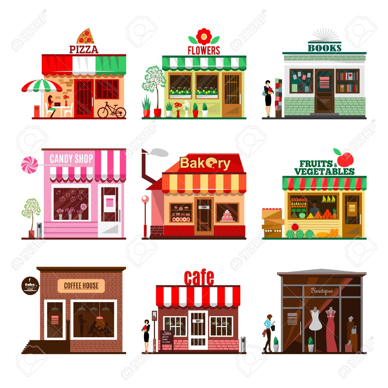 Cool set of detailed flat design city public buildings. Restaurants and shops facade icons. Pizza, flowers, books, candy shop, bakery, fruits and vegetables, coffee house, cafe and boutique. Vector - 51647460
