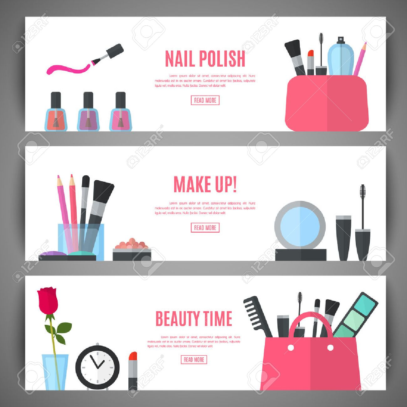 Set of beauty make up banner design. Cosmetic accessories for make-up. Cosmetology and SPA. Vector illustration for promotional booklets, brochures, banner, leaflets. Flat style - 51647461
